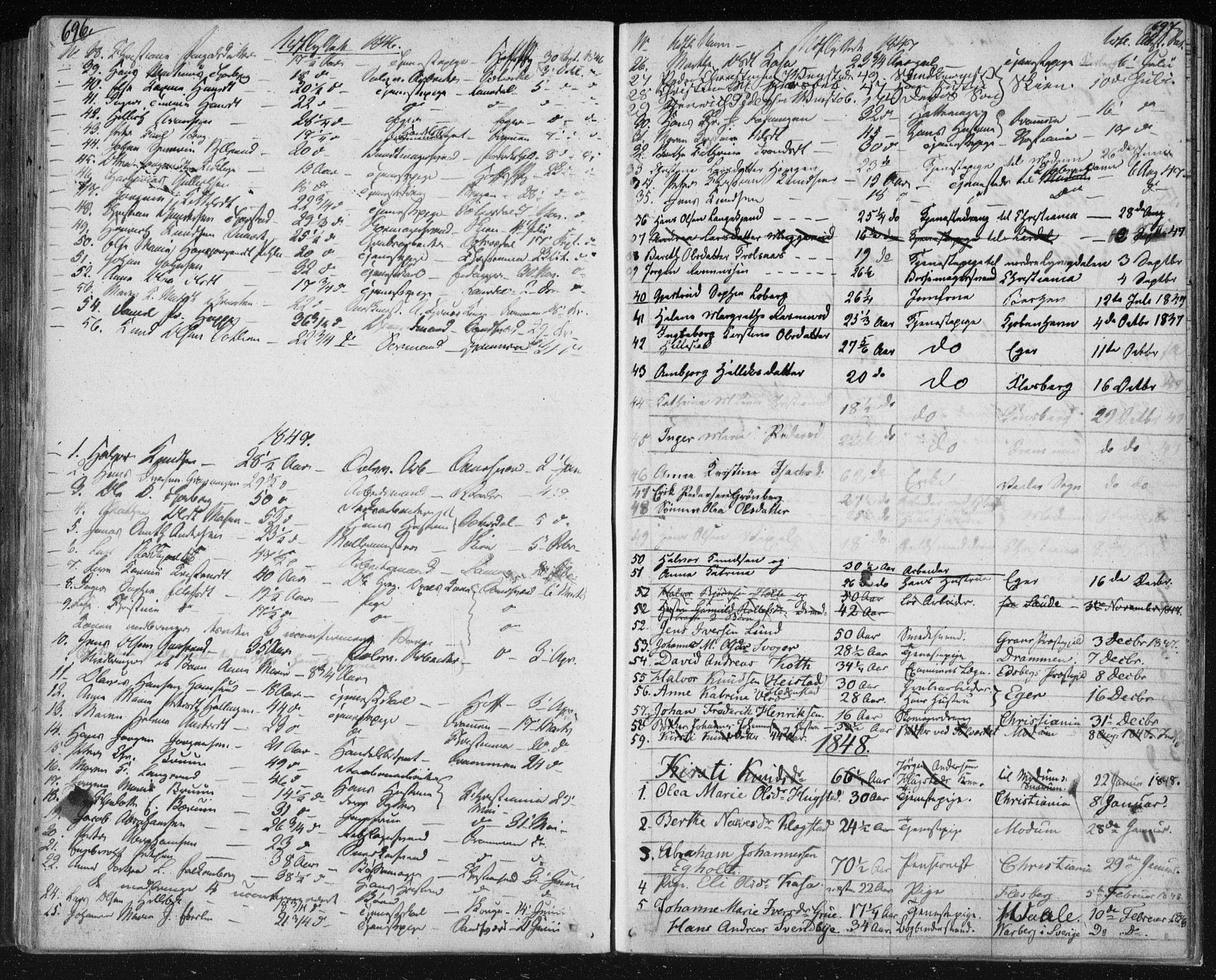 SAKO, Kongsberg kirkebøker, F/Fa/L0009: Ministerialbok nr. I 9, 1839-1858, s. 696-697