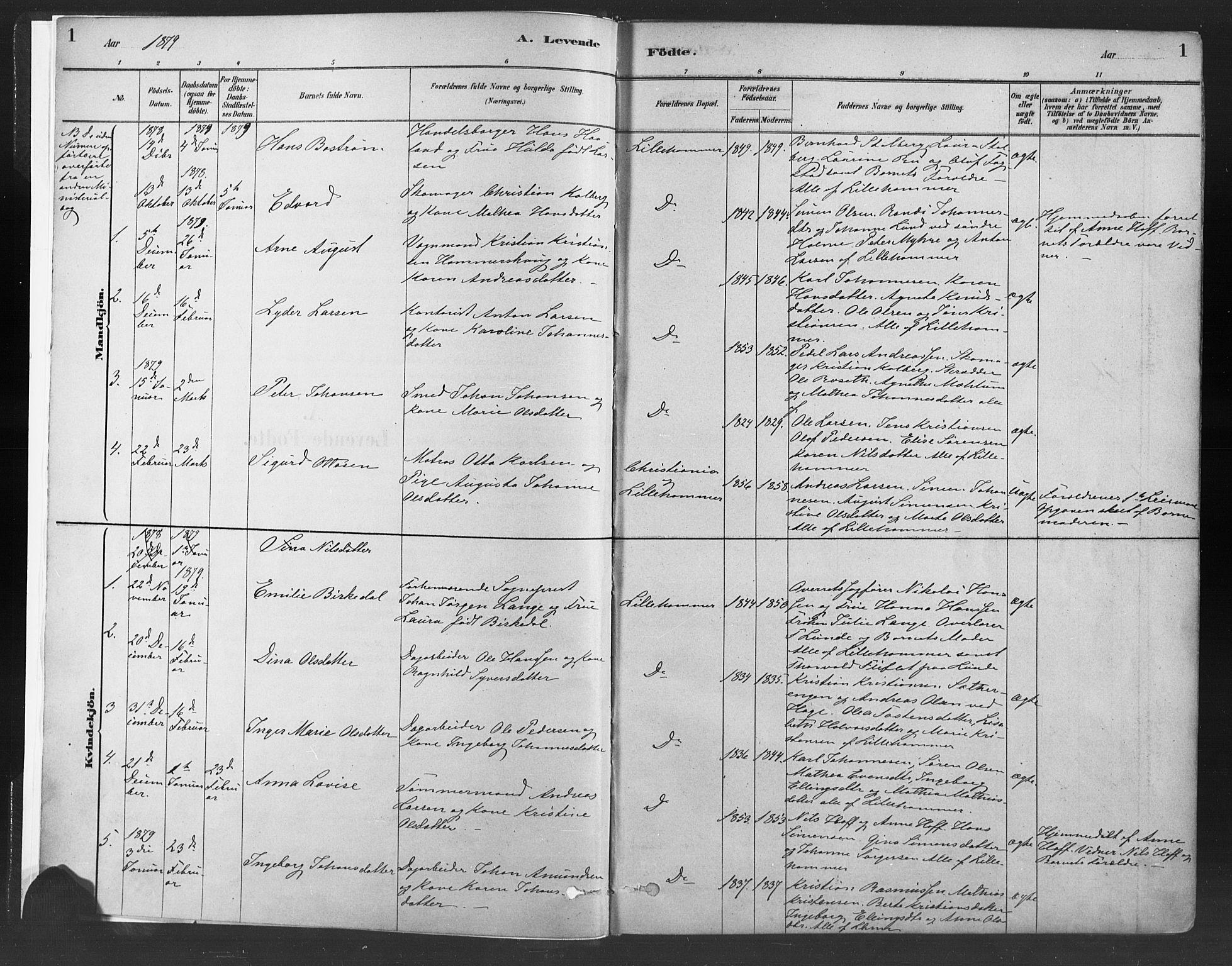 SAH, Fåberg prestekontor, Ministerialbok nr. 10, 1879-1900, s. 1