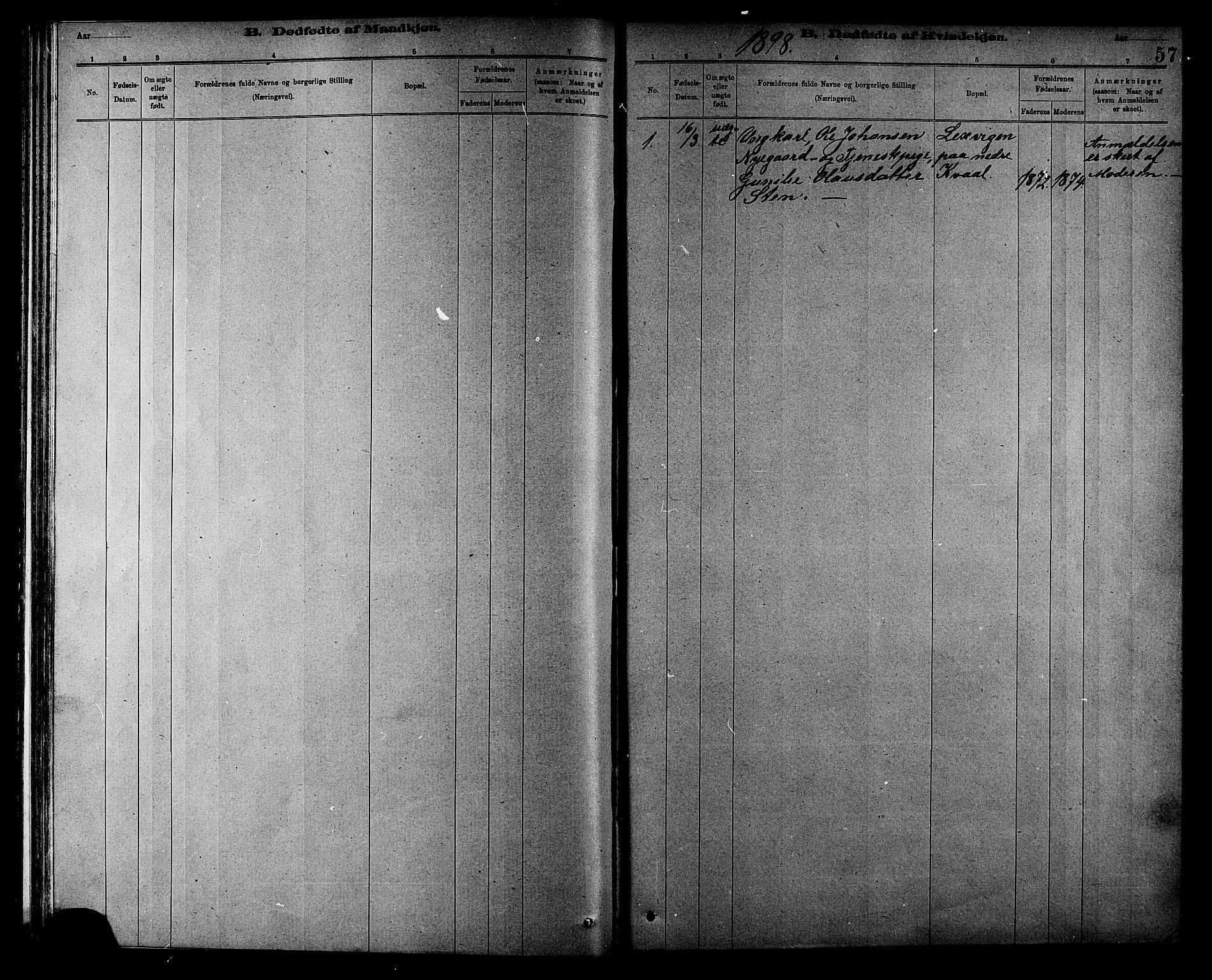 SAT, Ministerialprotokoller, klokkerbøker og fødselsregistre - Sør-Trøndelag, 608/L0341: Klokkerbok nr. 608C07, 1890-1912, s. 57