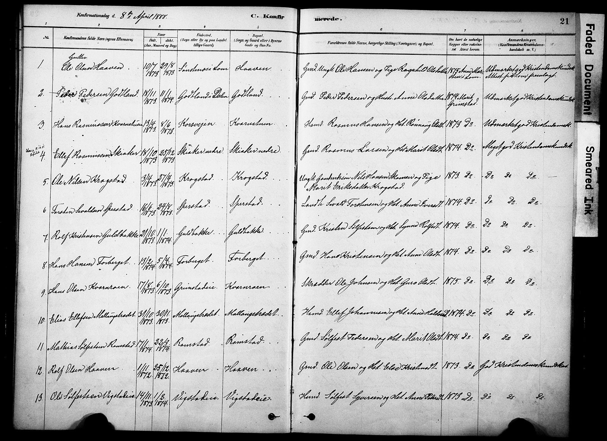SAH, Skjåk prestekontor, Ministerialbok nr. 2, 1878-1907, s. 21