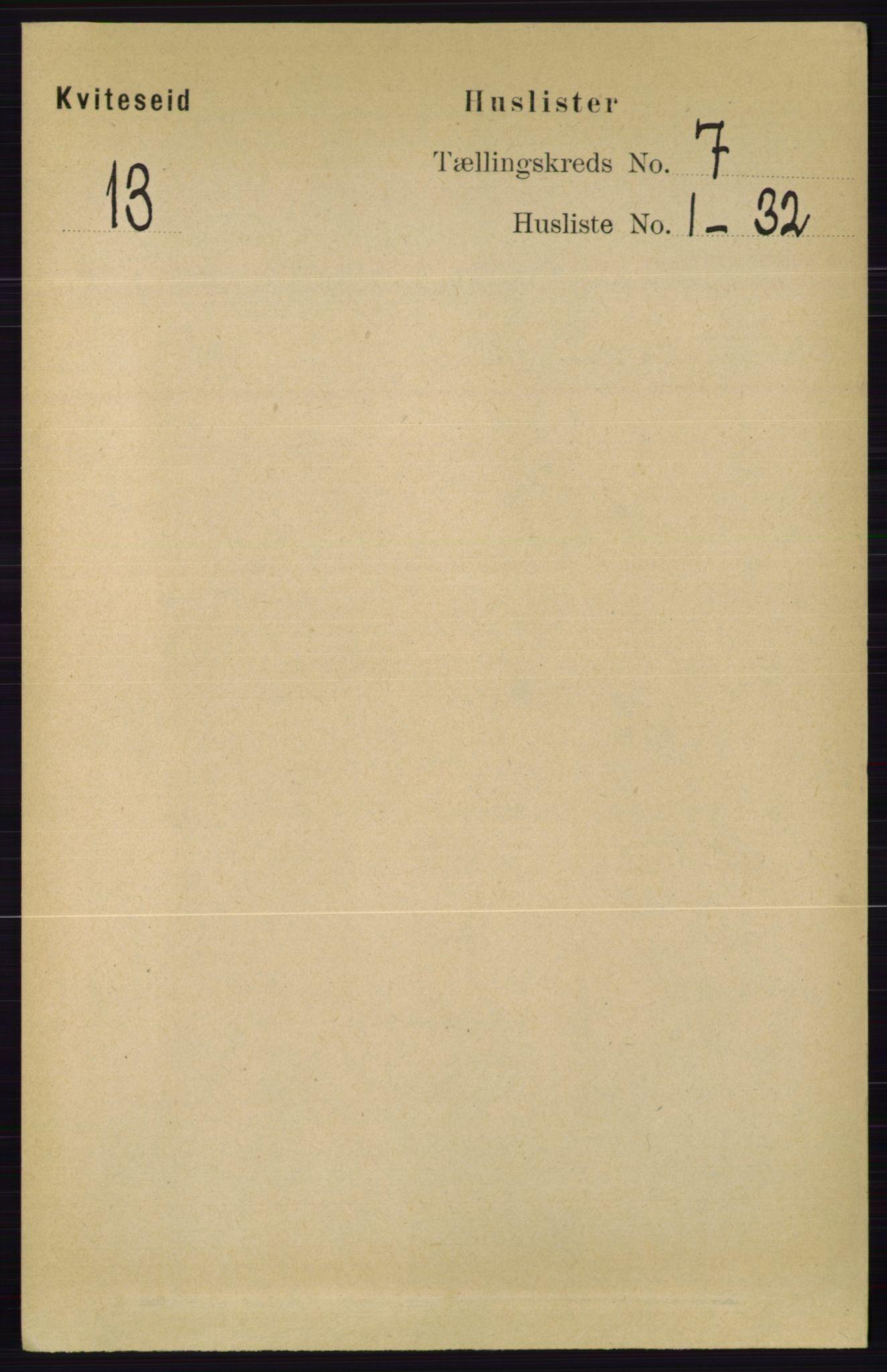 RA, Folketelling 1891 for 0829 Kviteseid herred, 1891, s. 1329
