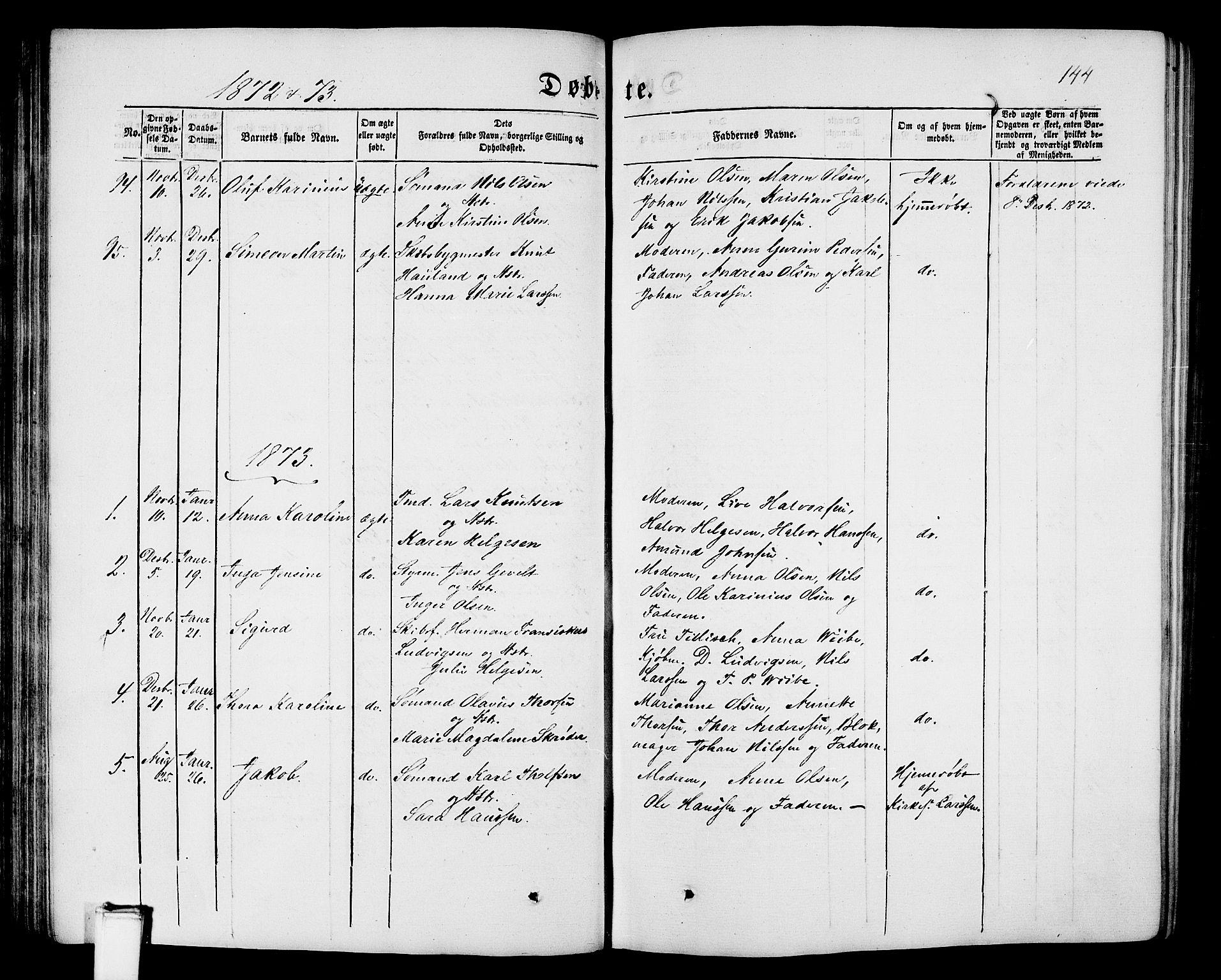 SAKO, Porsgrunn kirkebøker , G/Gb/L0004: Klokkerbok nr. II 4, 1853-1882, s. 144