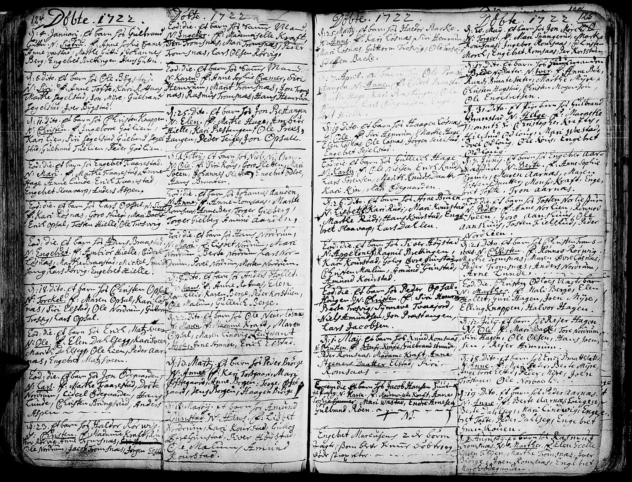 SAH, Ringebu prestekontor, Ministerialbok nr. 1, 1696-1733, s. 124-125