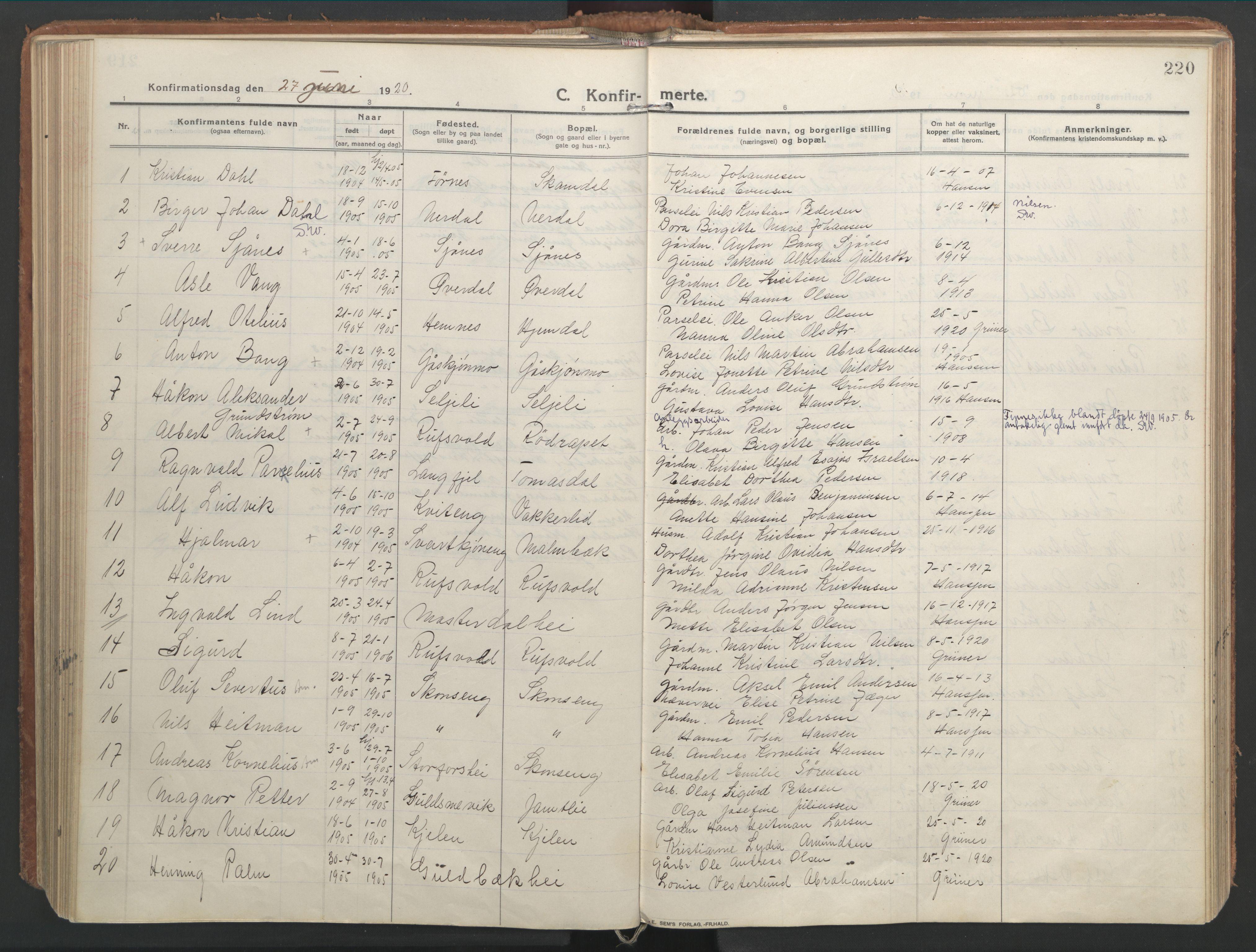 SAT, Ministerialprotokoller, klokkerbøker og fødselsregistre - Nordland, 827/L0404: Ministerialbok nr. 827A16, 1912-1925, s. 220