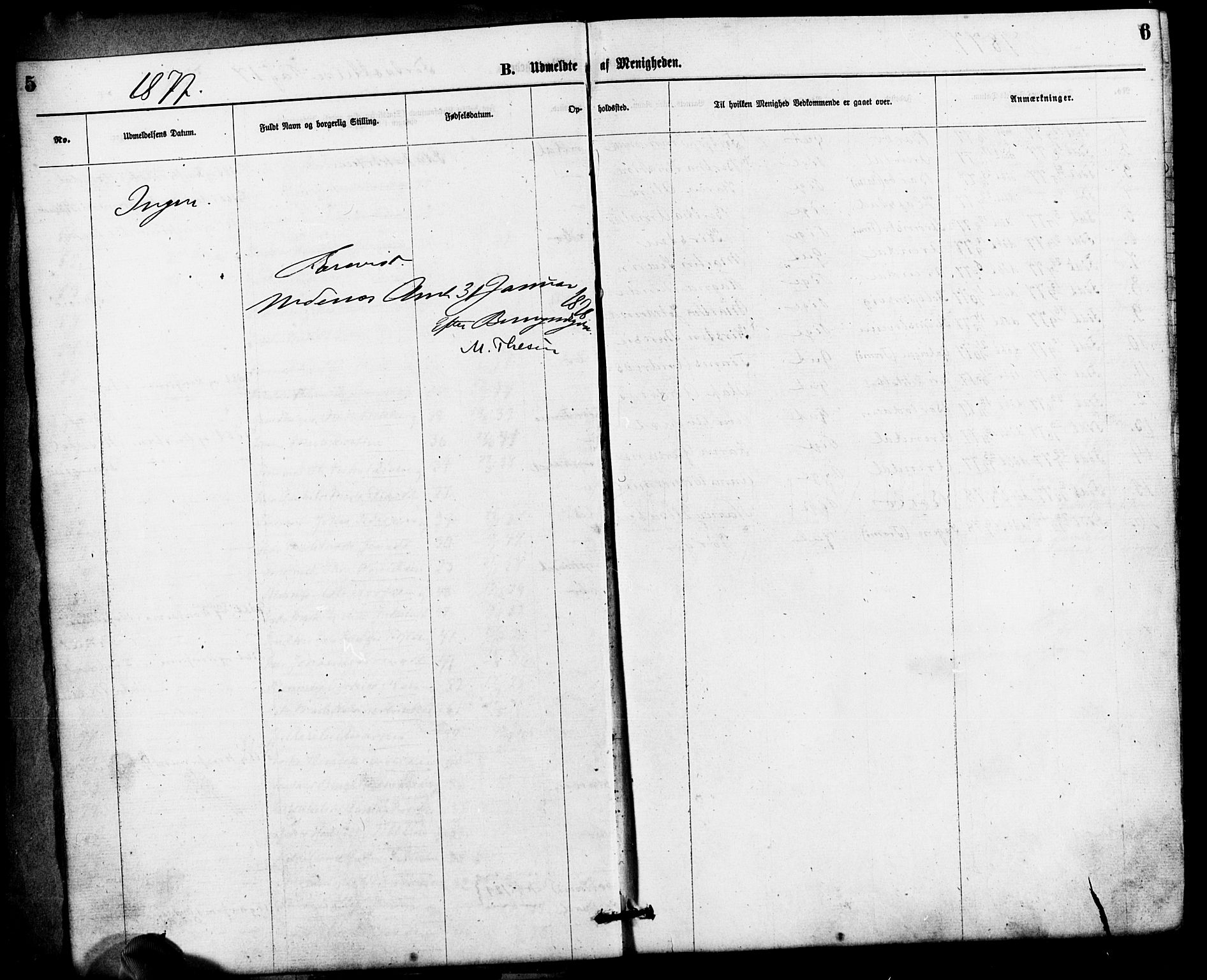 SAK, Den evangelisk-lutherske frimenighet, Arendal, F/Fa/L0001: Dissenterprotokoll nr. F 5, 1877-1883, s. 5-6