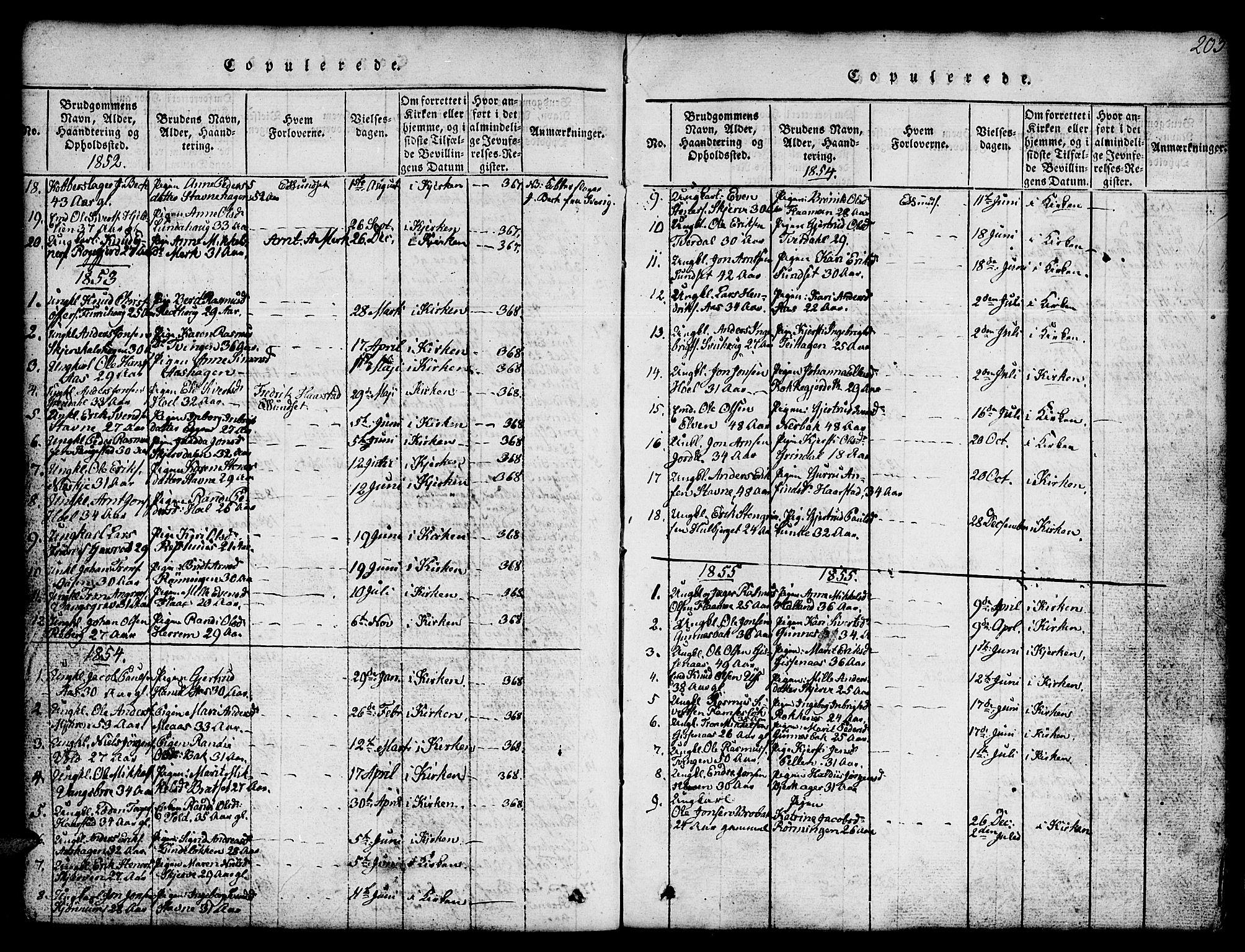 SAT, Ministerialprotokoller, klokkerbøker og fødselsregistre - Sør-Trøndelag, 674/L0874: Klokkerbok nr. 674C01, 1816-1860, s. 203