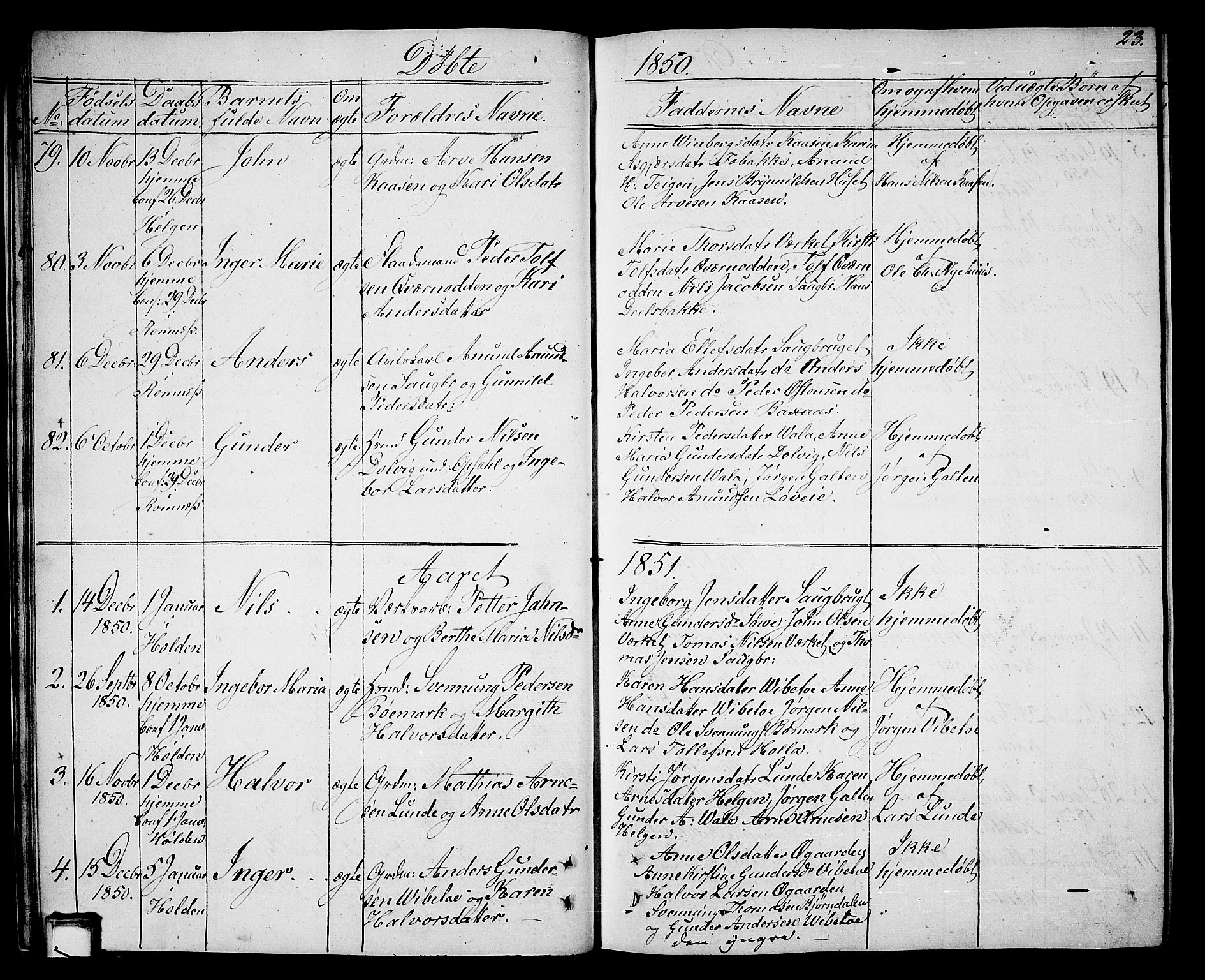 SAKO, Holla kirkebøker, G/Ga/L0003: Klokkerbok nr. I 3, 1849-1866, s. 23