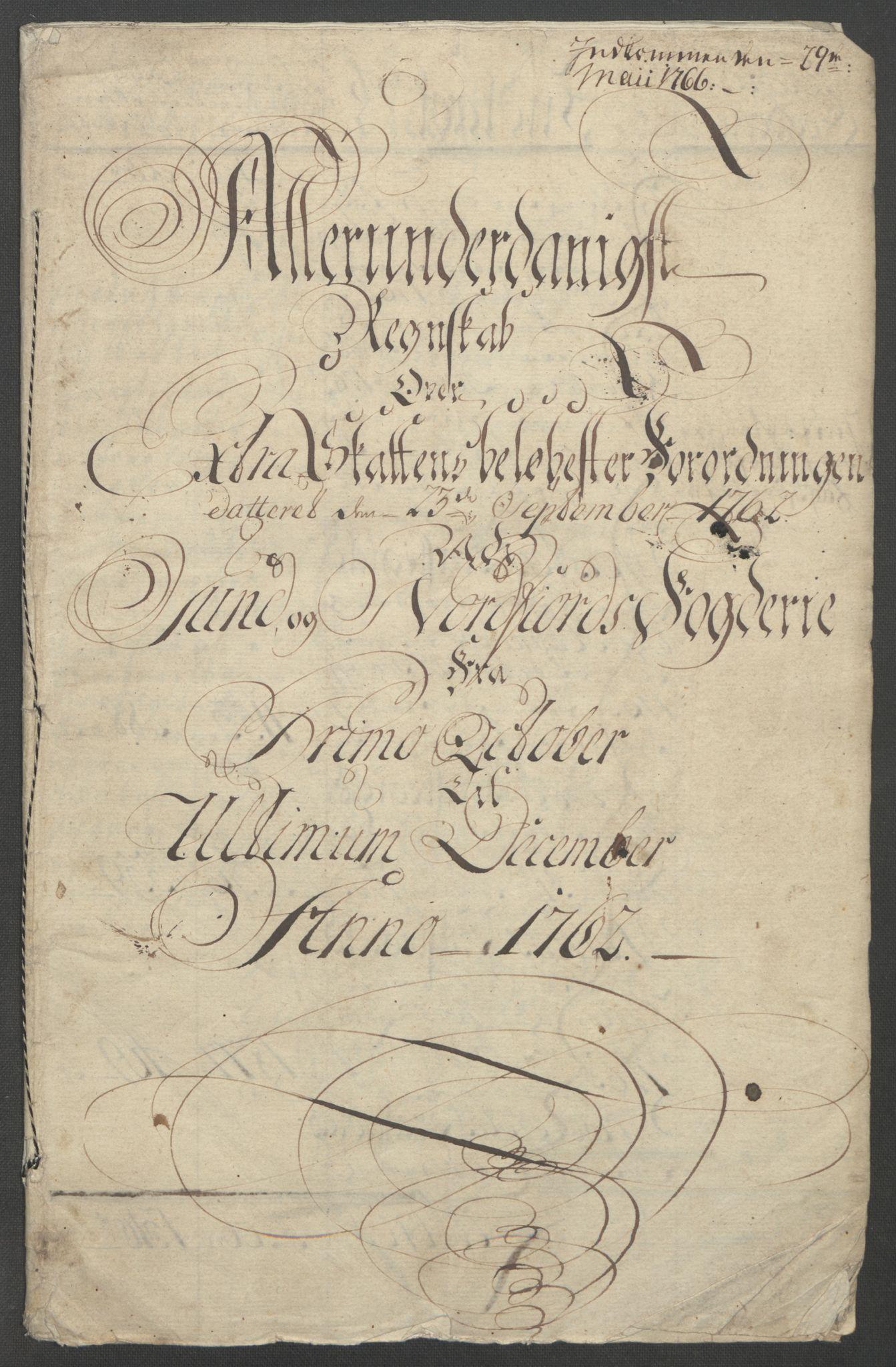 RA, Rentekammeret inntil 1814, Reviderte regnskaper, Fogderegnskap, R53/L3550: Ekstraskatten Sunn- og Nordfjord, 1762-1771, s. 5