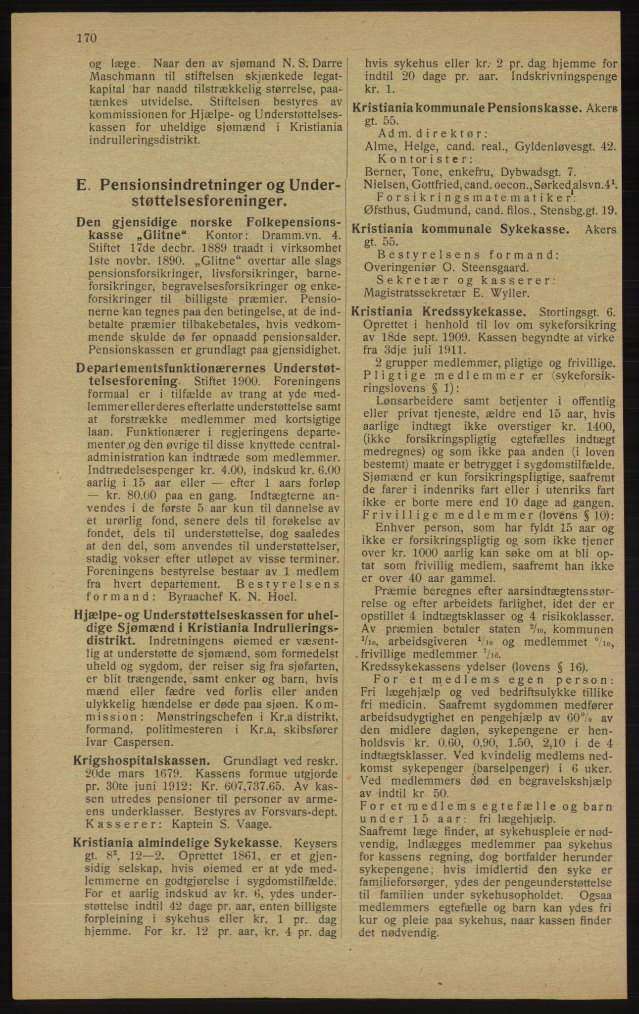 RA, Kristiania adressebok (publikasjon)*, 1913, s. 170