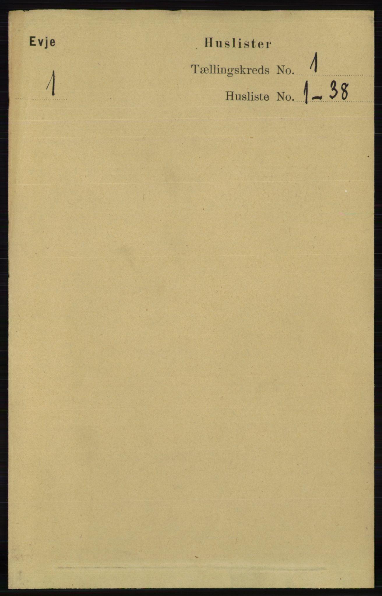 RA, Folketelling 1891 for 0937 Evje herred, 1891, s. 14