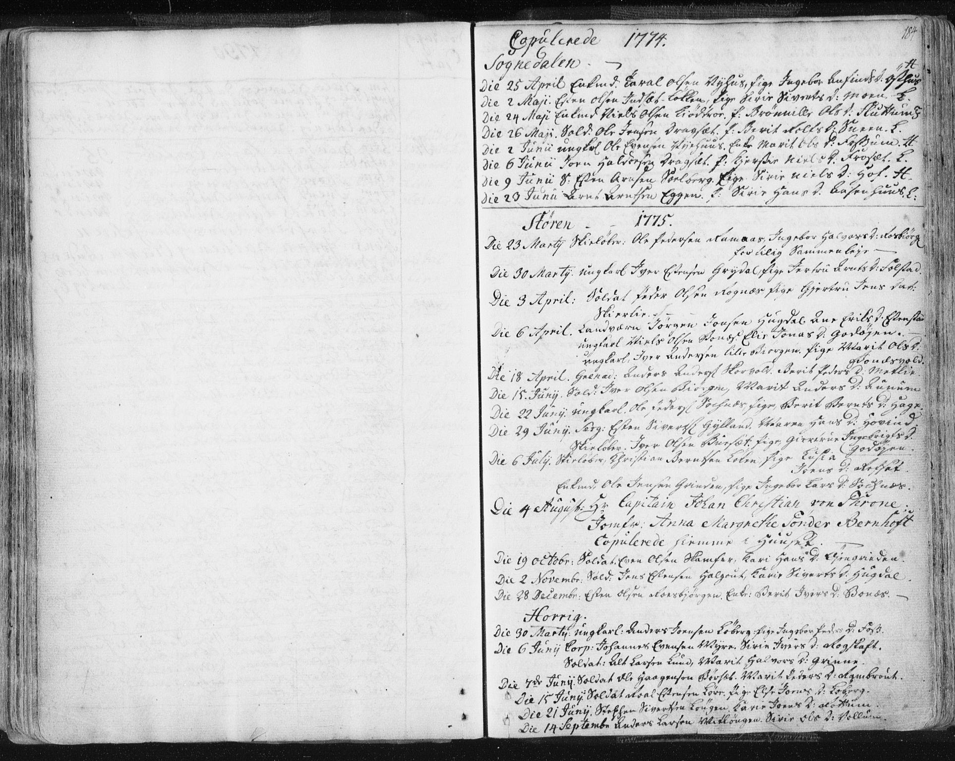 SAT, Ministerialprotokoller, klokkerbøker og fødselsregistre - Sør-Trøndelag, 687/L0991: Ministerialbok nr. 687A02, 1747-1790, s. 184