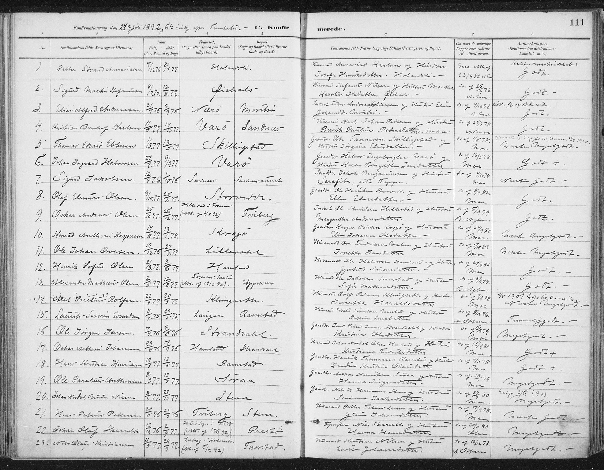 SAT, Ministerialprotokoller, klokkerbøker og fødselsregistre - Nord-Trøndelag, 784/L0673: Ministerialbok nr. 784A08, 1888-1899, s. 111