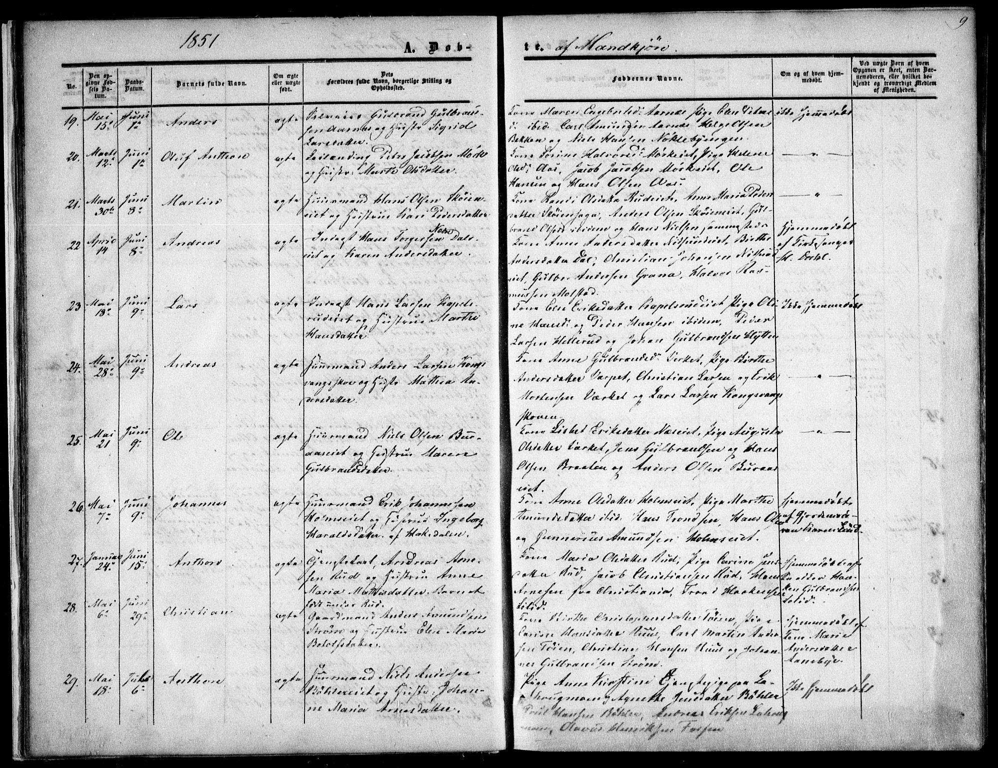SAO, Nittedal prestekontor Kirkebøker, F/Fa/L0005: Ministerialbok nr. I 5, 1850-1862, s. 9