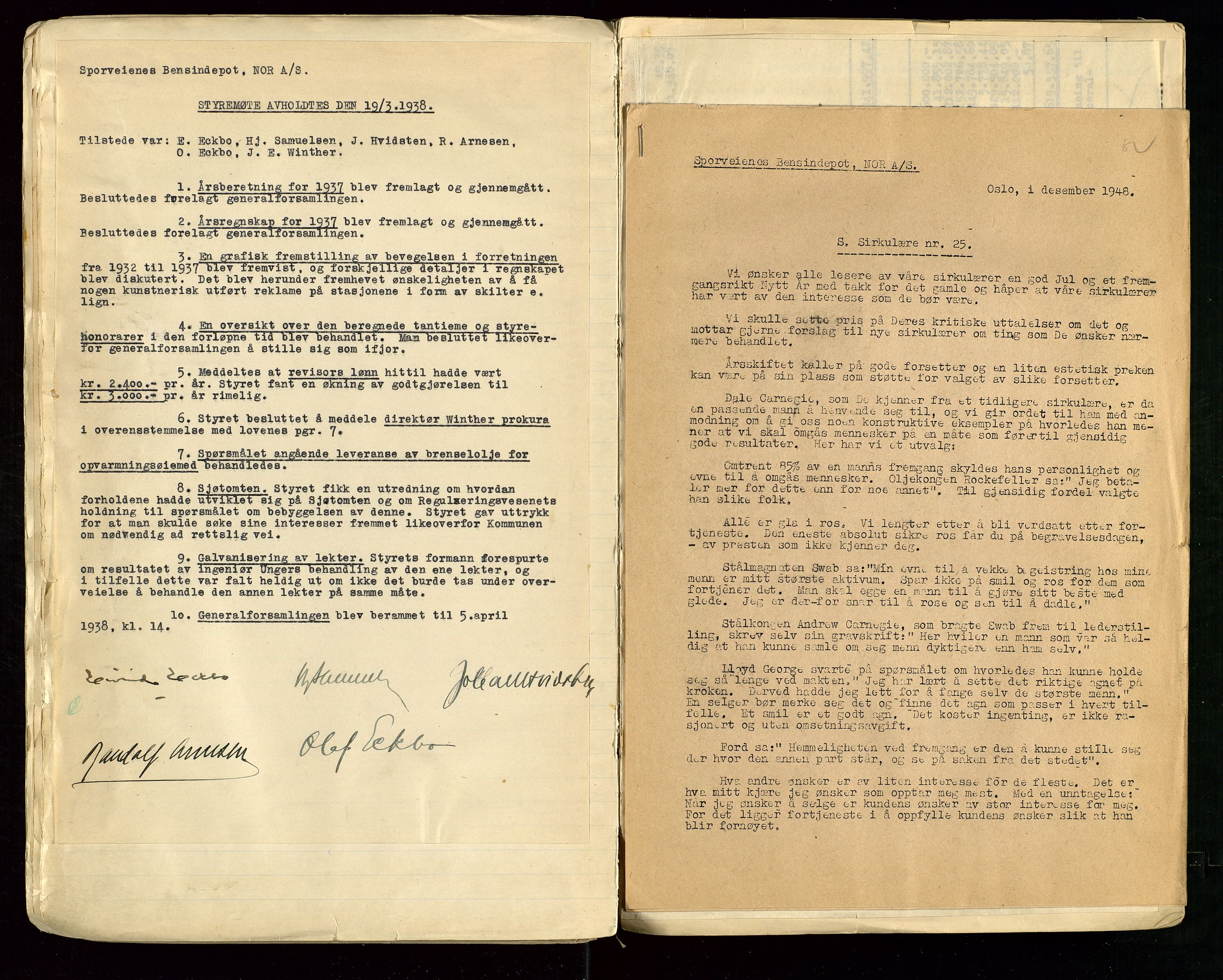 SAST, PA 1514 - Sporveienes Bensindepot, Norsk Oljeraffineri A/S, A/L0001: Styreprotokoll. Forhandlingsprotokoll Arbeidsutvaget, 1932-1949, s. 37