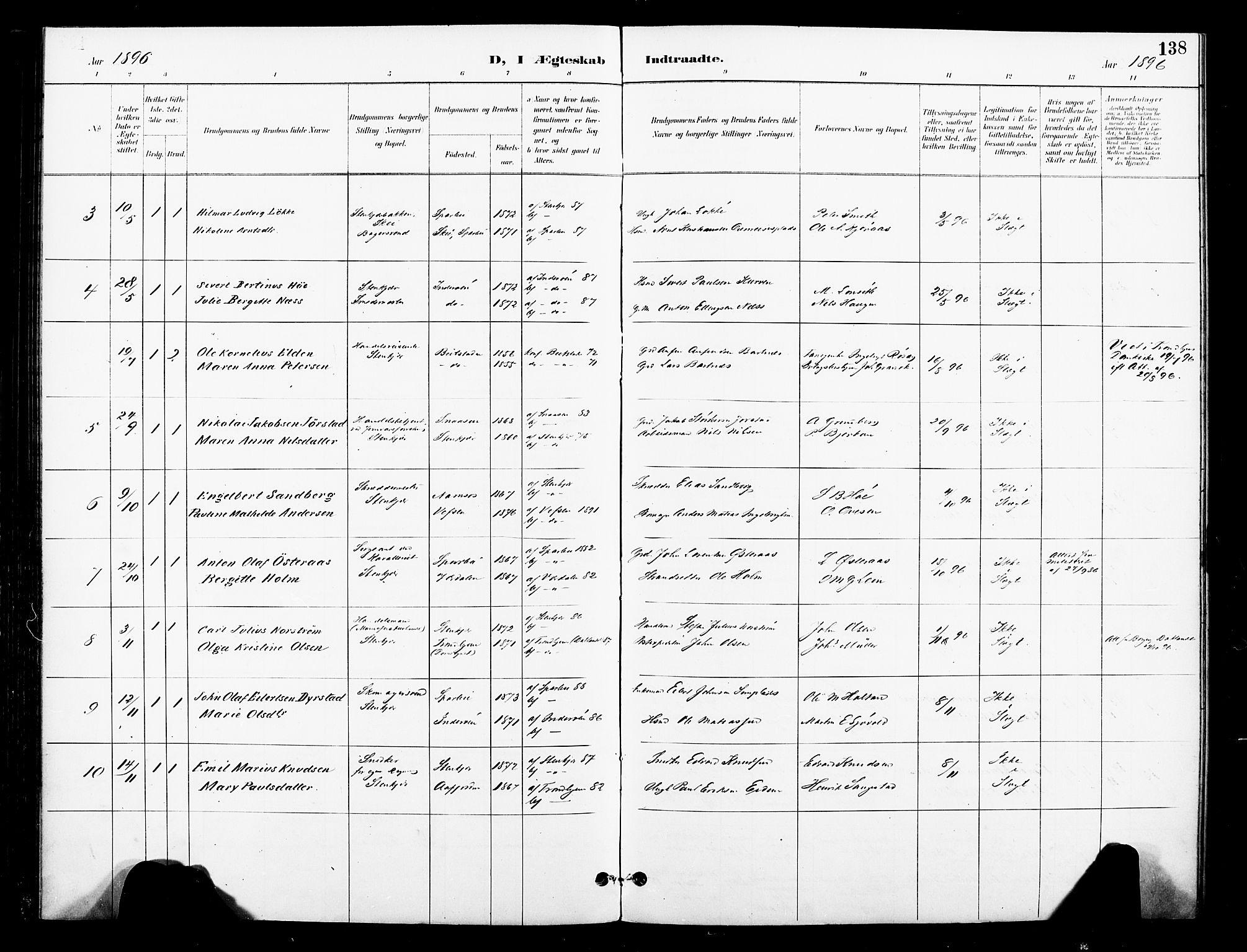 SAT, Ministerialprotokoller, klokkerbøker og fødselsregistre - Nord-Trøndelag, 739/L0372: Ministerialbok nr. 739A04, 1895-1903, s. 138