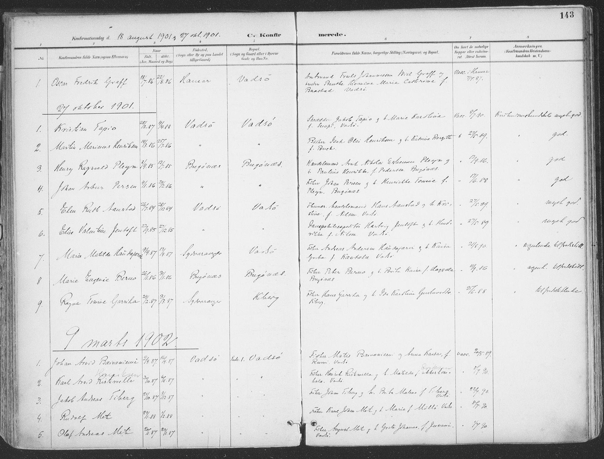 SATØ, Vadsø sokneprestkontor, H/Ha/L0007kirke: Ministerialbok nr. 7, 1896-1916, s. 143