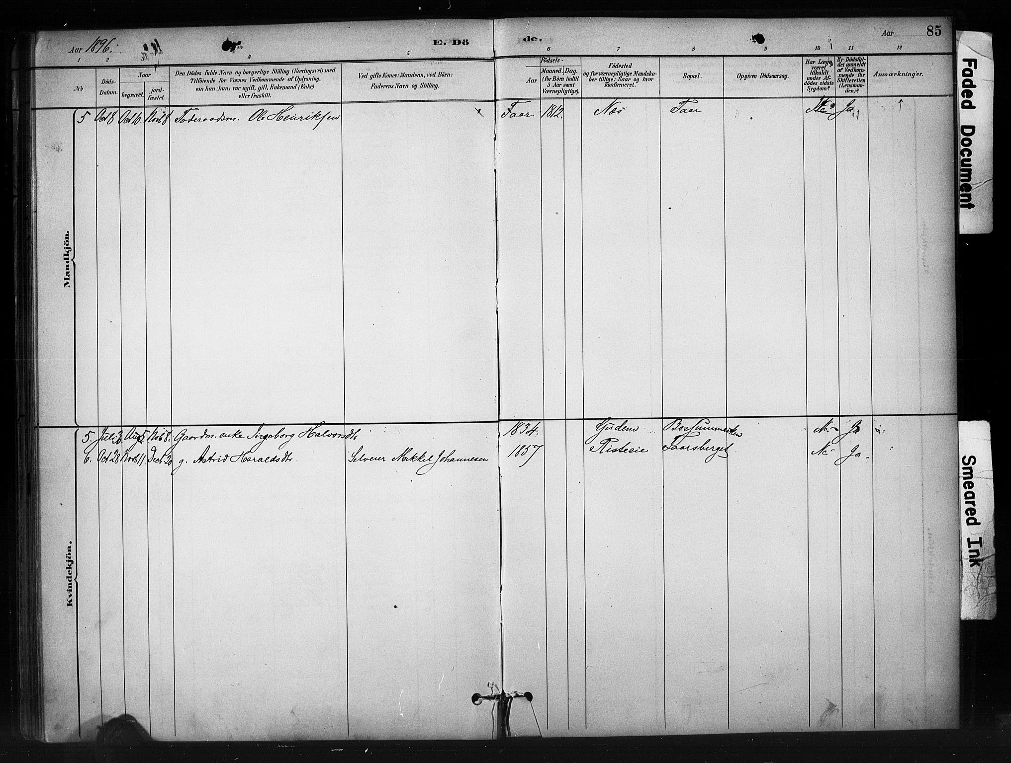 SAH, Nord-Aurdal prestekontor, Ministerialbok nr. 10, 1883-1896, s. 85