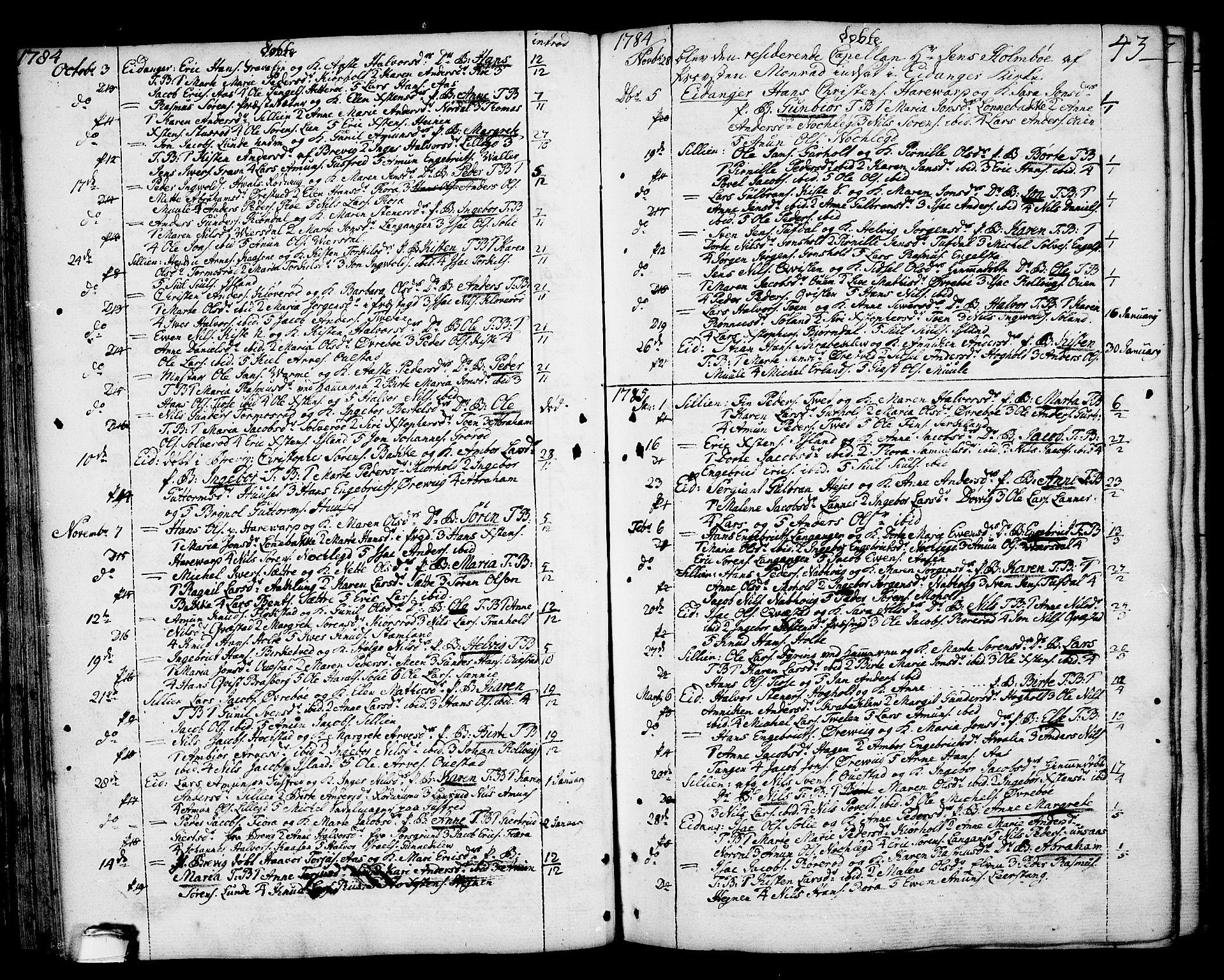 SAKO, Eidanger kirkebøker, F/Fa/L0006: Ministerialbok nr. 6, 1764-1814, s. 43