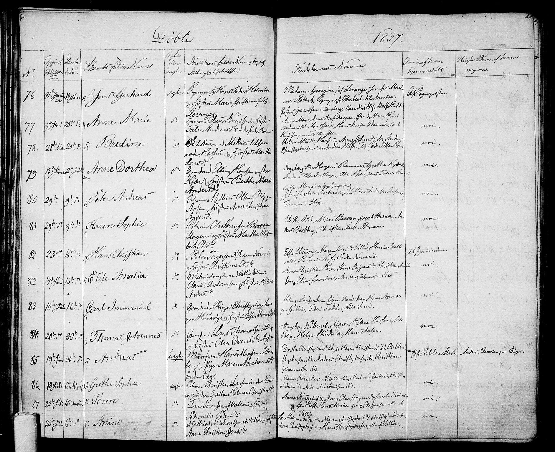SAKO, Sem kirkebøker, F/Fa/L0005: Ministerialbok nr. I 5, 1825-1842, s. 161-162