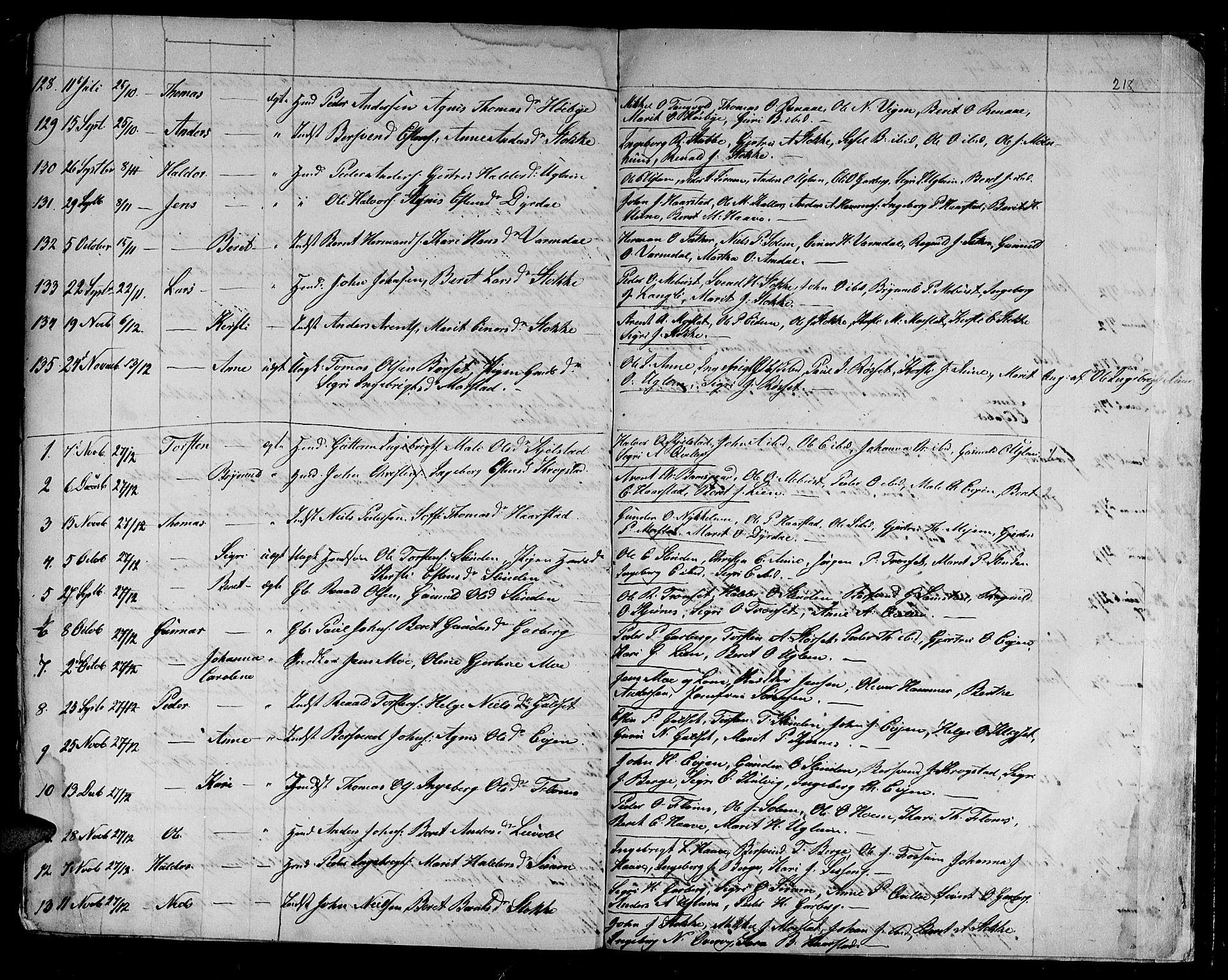 SAT, Ministerialprotokoller, klokkerbøker og fødselsregistre - Sør-Trøndelag, 695/L1154: Klokkerbok nr. 695C05, 1842-1858, s. 218