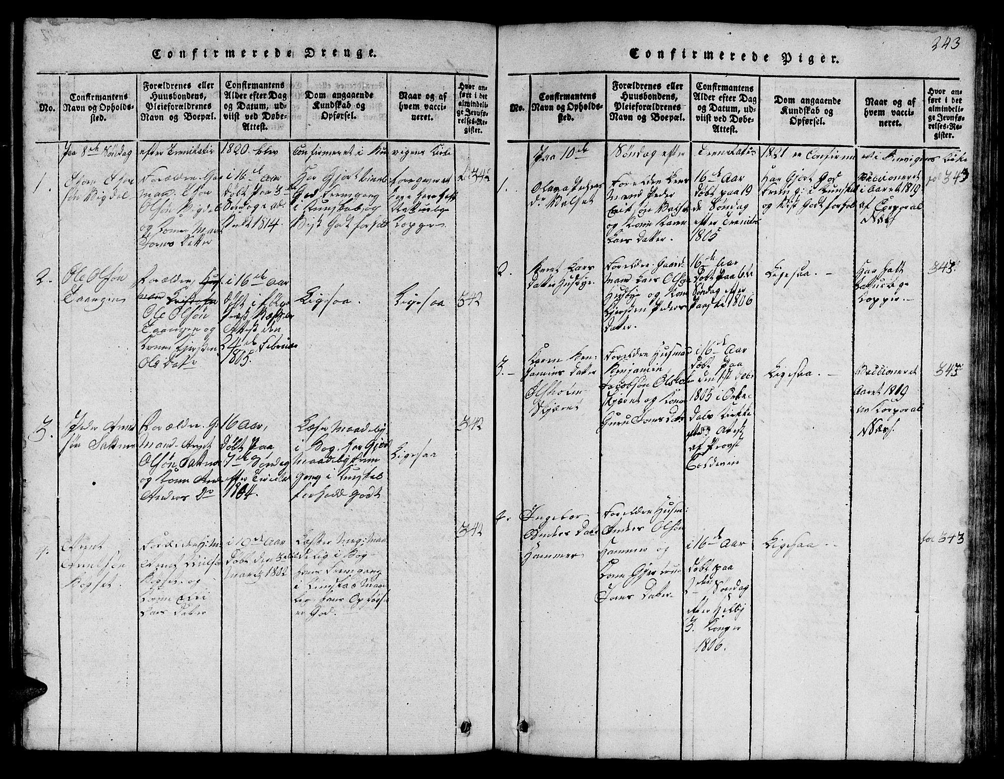 SAT, Ministerialprotokoller, klokkerbøker og fødselsregistre - Sør-Trøndelag, 666/L0788: Klokkerbok nr. 666C01, 1816-1847, s. 243