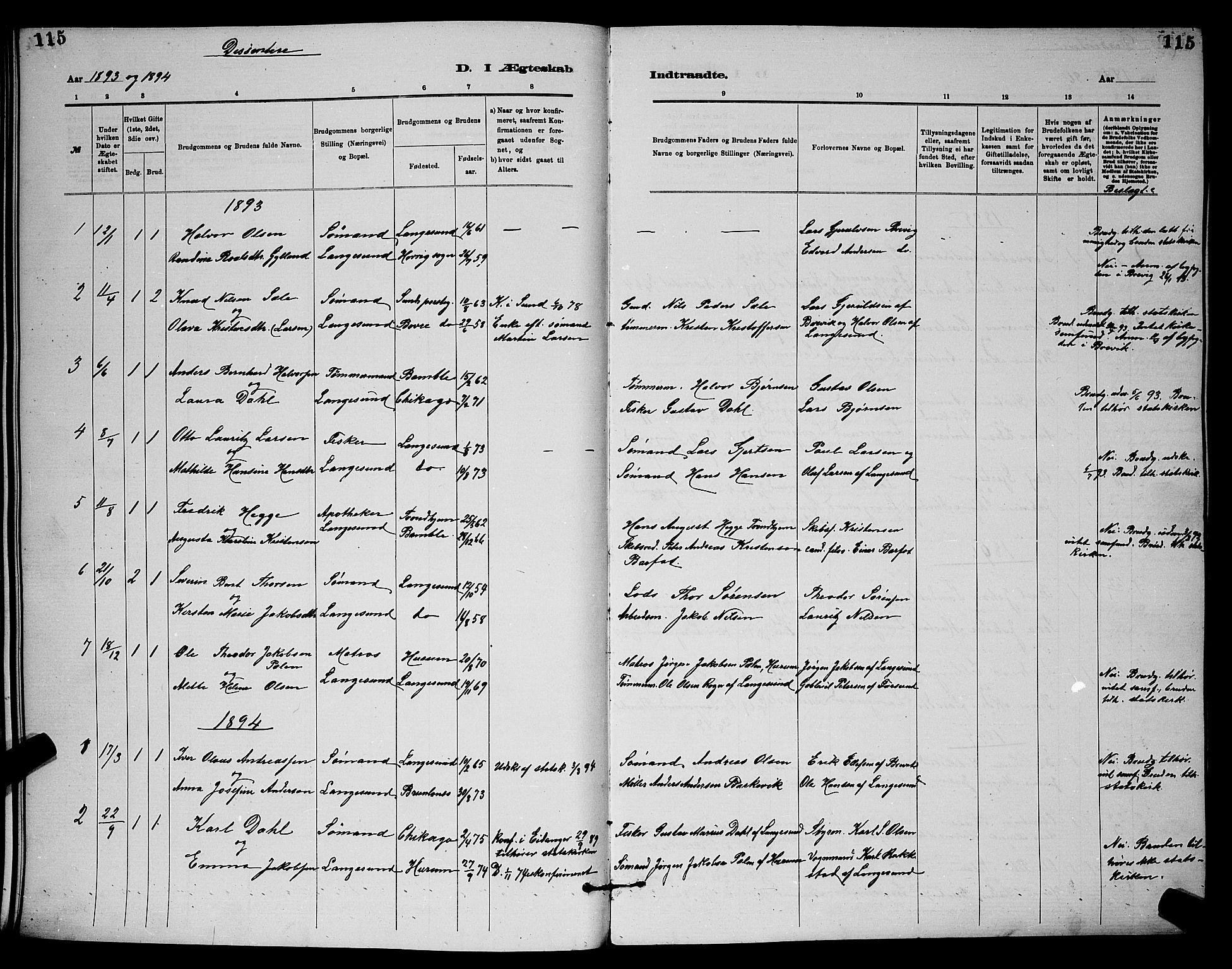SAKO, Langesund kirkebøker, G/Ga/L0005: Klokkerbok nr. 5, 1884-1898, s. 115