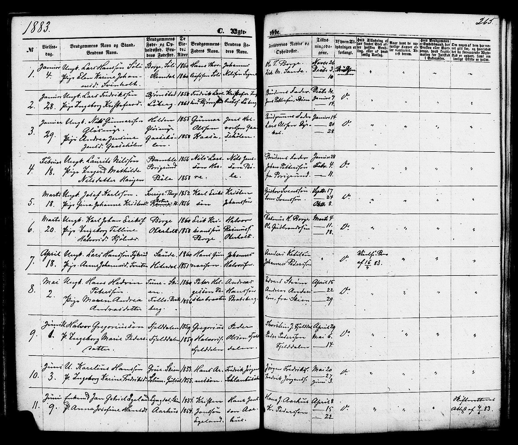 SAKO, Gjerpen kirkebøker, F/Fa/L0009: Ministerialbok nr. 9, 1872-1885, s. 265