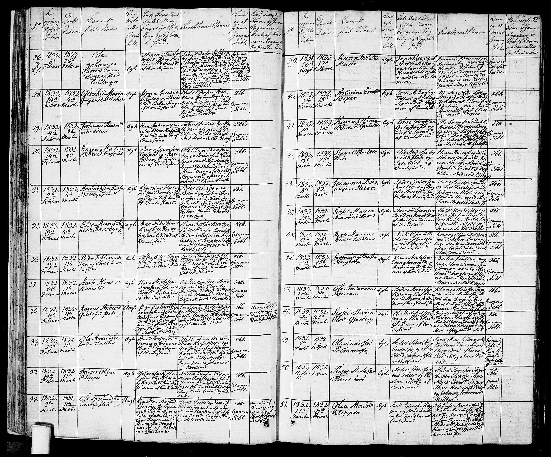 SAO, Rakkestad prestekontor Kirkebøker, F/Fa/L0007: Ministerialbok nr. I 7, 1825-1841, s. 52
