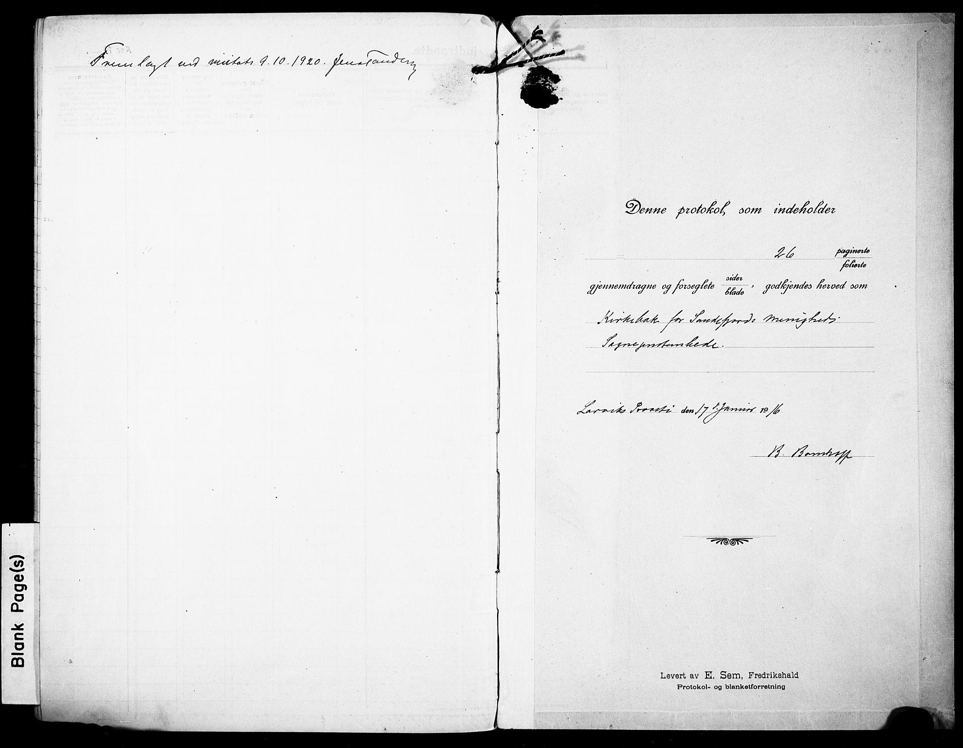 SAKO, Sandefjord kirkebøker, F/Fa/L0006: Ministerialbok nr. 6, 1915-1930