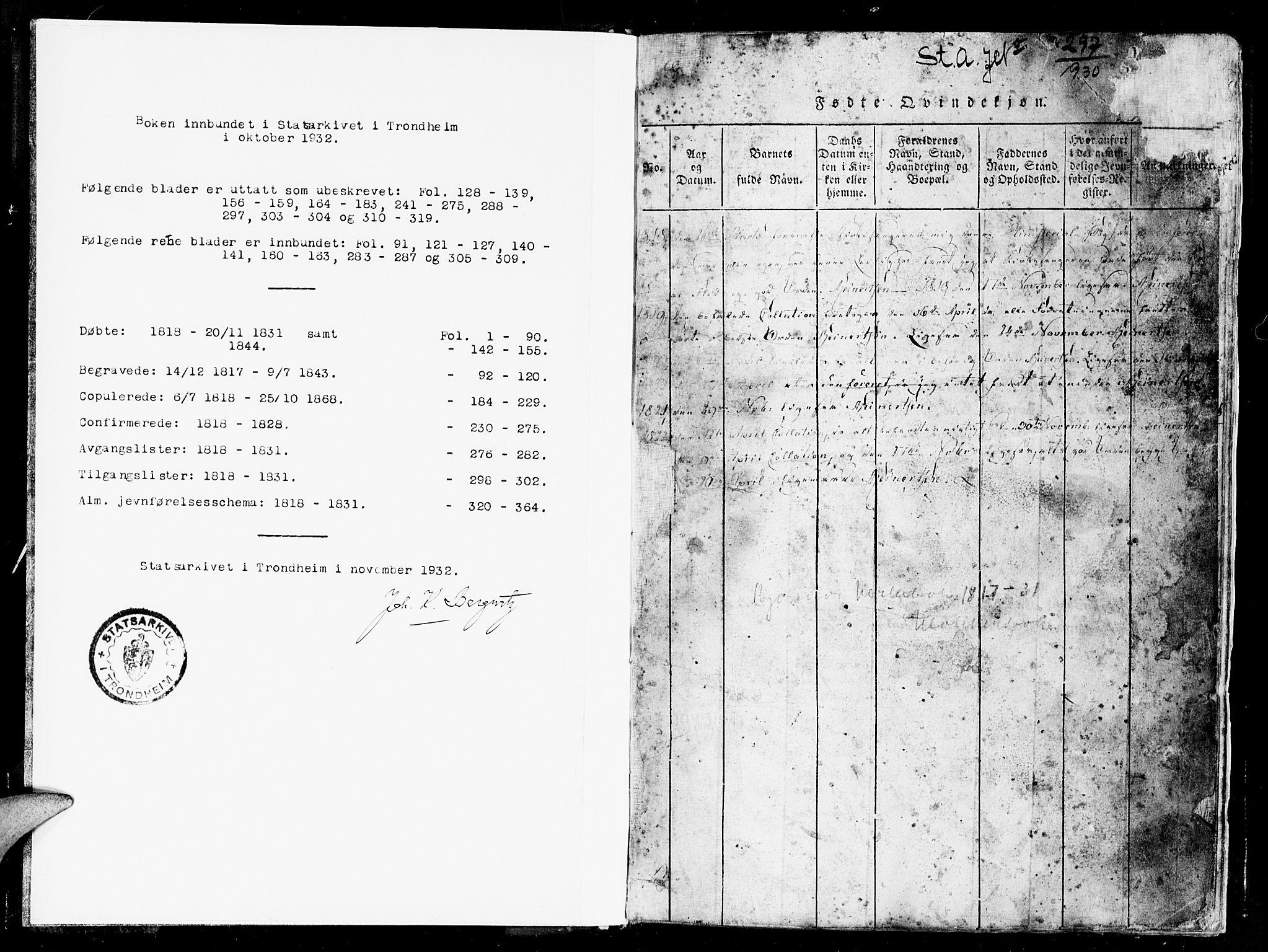 SAT, Ministerialprotokoller, klokkerbøker og fødselsregistre - Sør-Trøndelag, 657/L0714: Klokkerbok nr. 657C01, 1818-1868