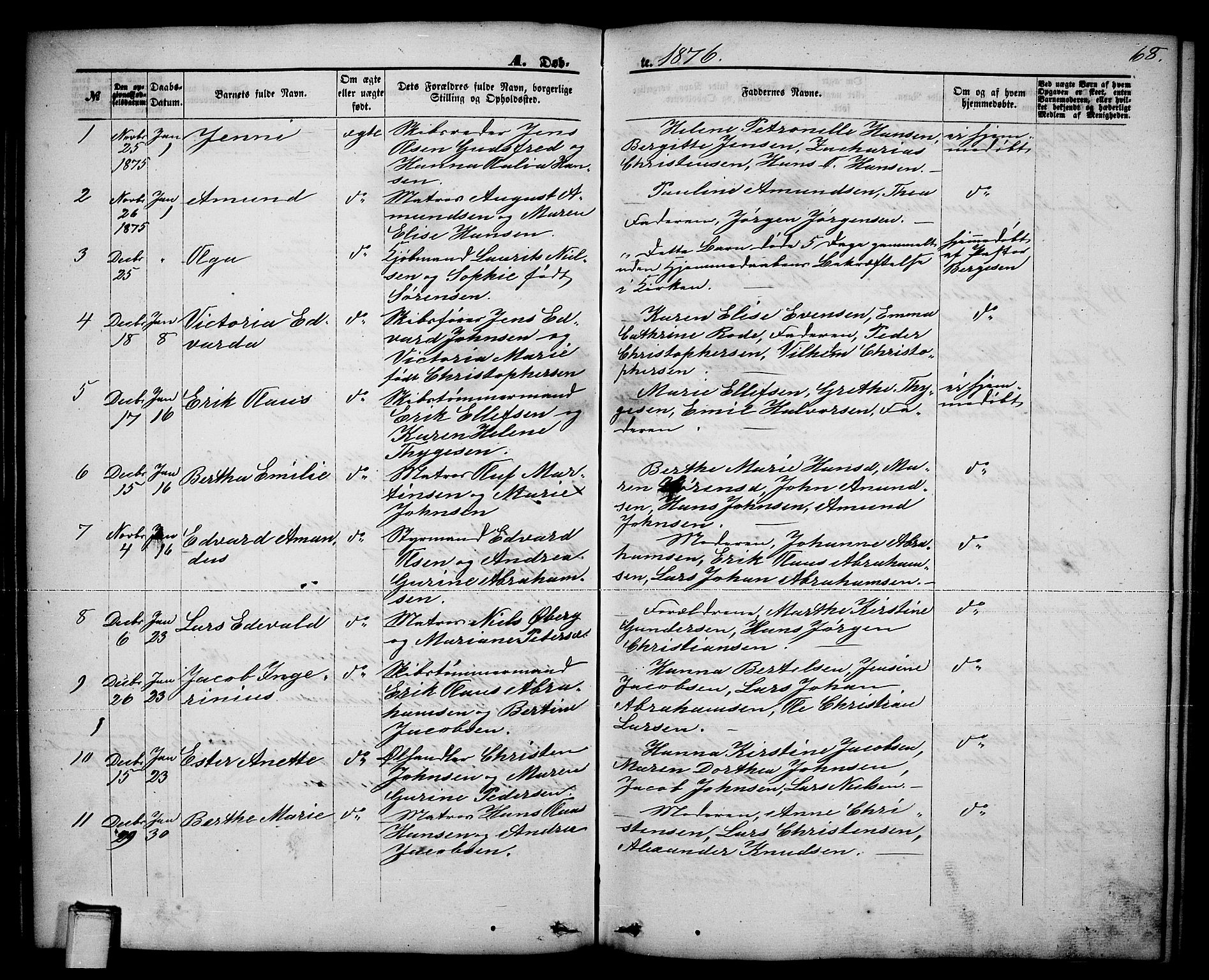 SAKO, Brevik kirkebøker, G/Ga/L0003: Klokkerbok nr. 3, 1866-1881, s. 68