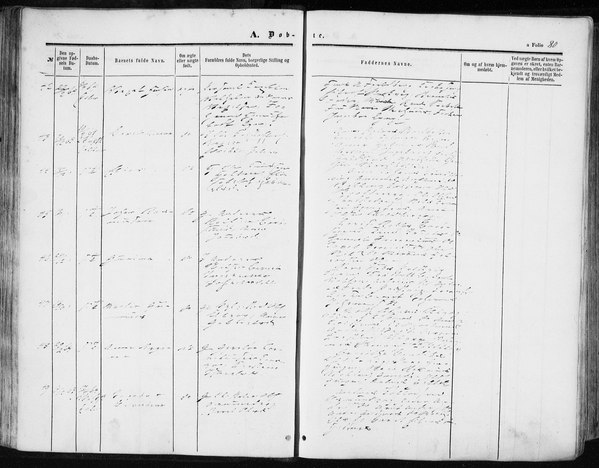 SAT, Ministerialprotokoller, klokkerbøker og fødselsregistre - Sør-Trøndelag, 634/L0531: Ministerialbok nr. 634A07, 1861-1870, s. 80