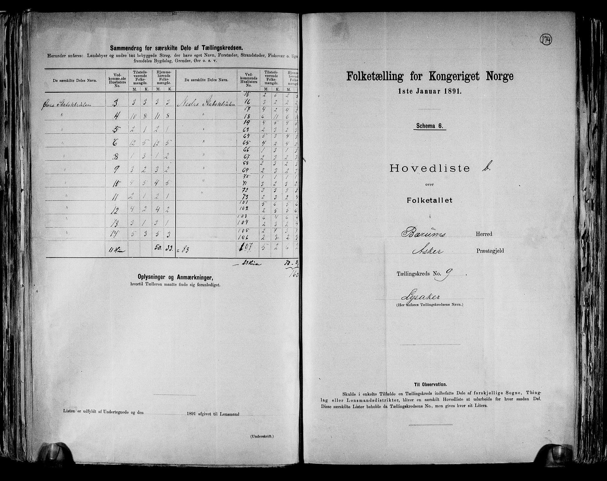 RA, Folketelling 1891 for 0219 Bærum herred, 1891, s. 33