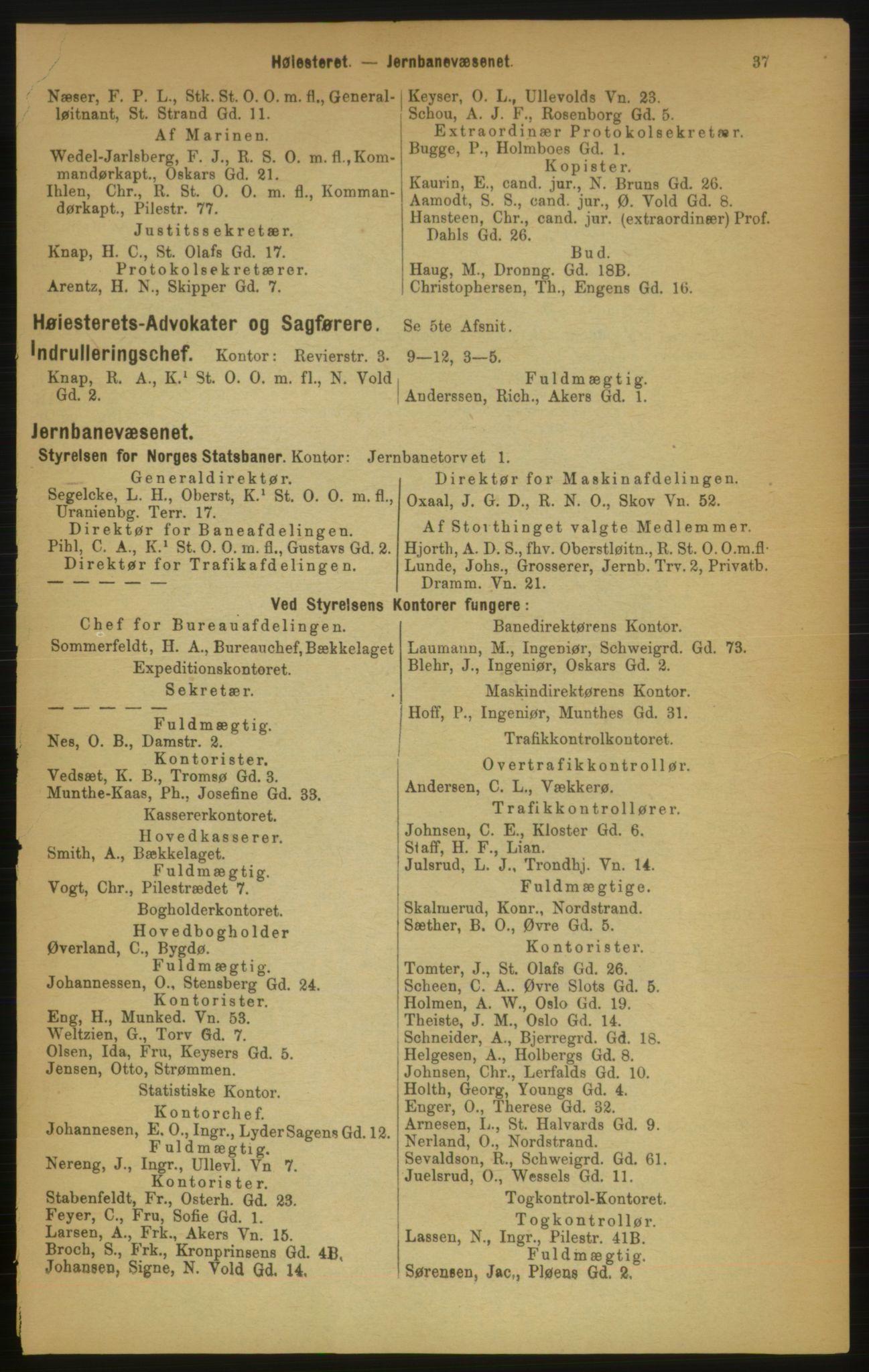 RA, Kristiania adressebok (publikasjon)*, 1889, s. 37