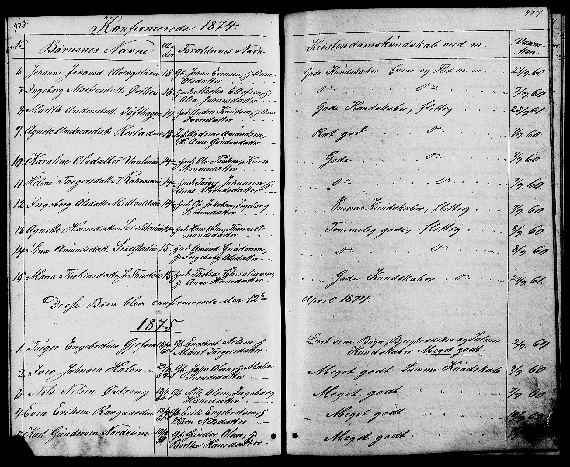 SAH, Østre Gausdal prestekontor, Klokkerbok nr. 1, 1863-1893, s. 473-474