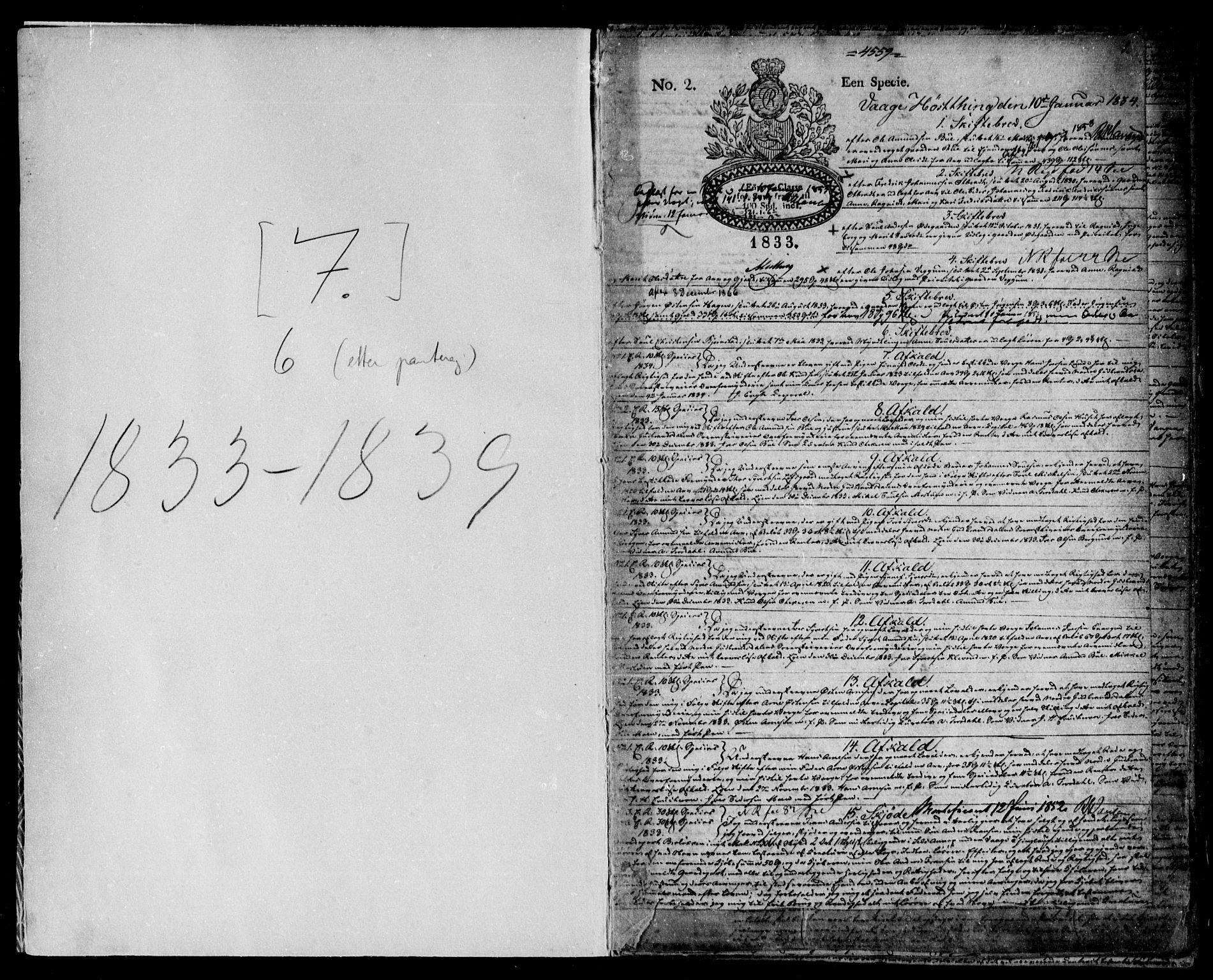 SAH, Nord-Gudbrandsdal tingrett, H/Hb/Hba/L0006: Pantebok nr. 6, 1834-1839, s. 1