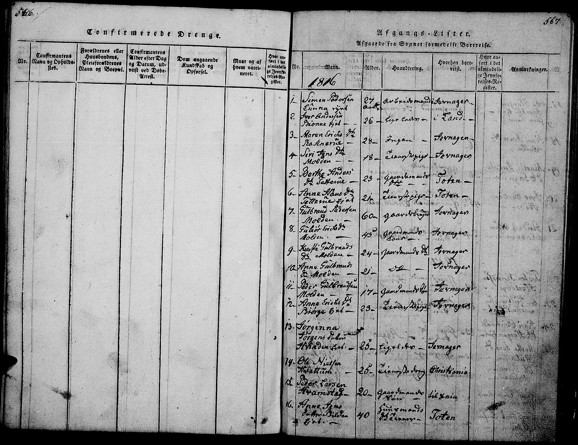 SAH, Gran prestekontor, Klokkerbok nr. 1, 1815-1824, s. 566-567