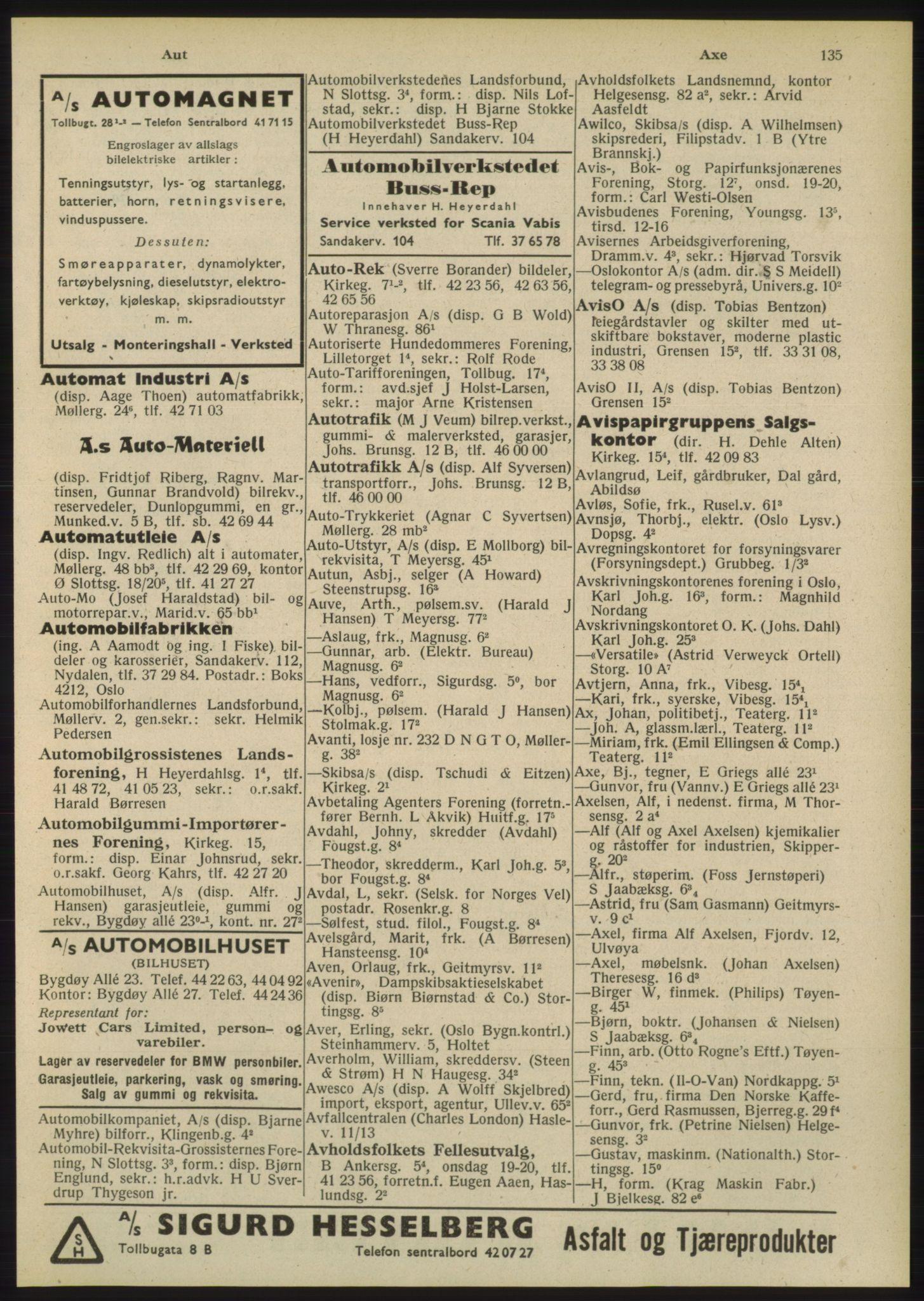 RA, Oslo adressebok (publikasjon)*, 1948, s. 135