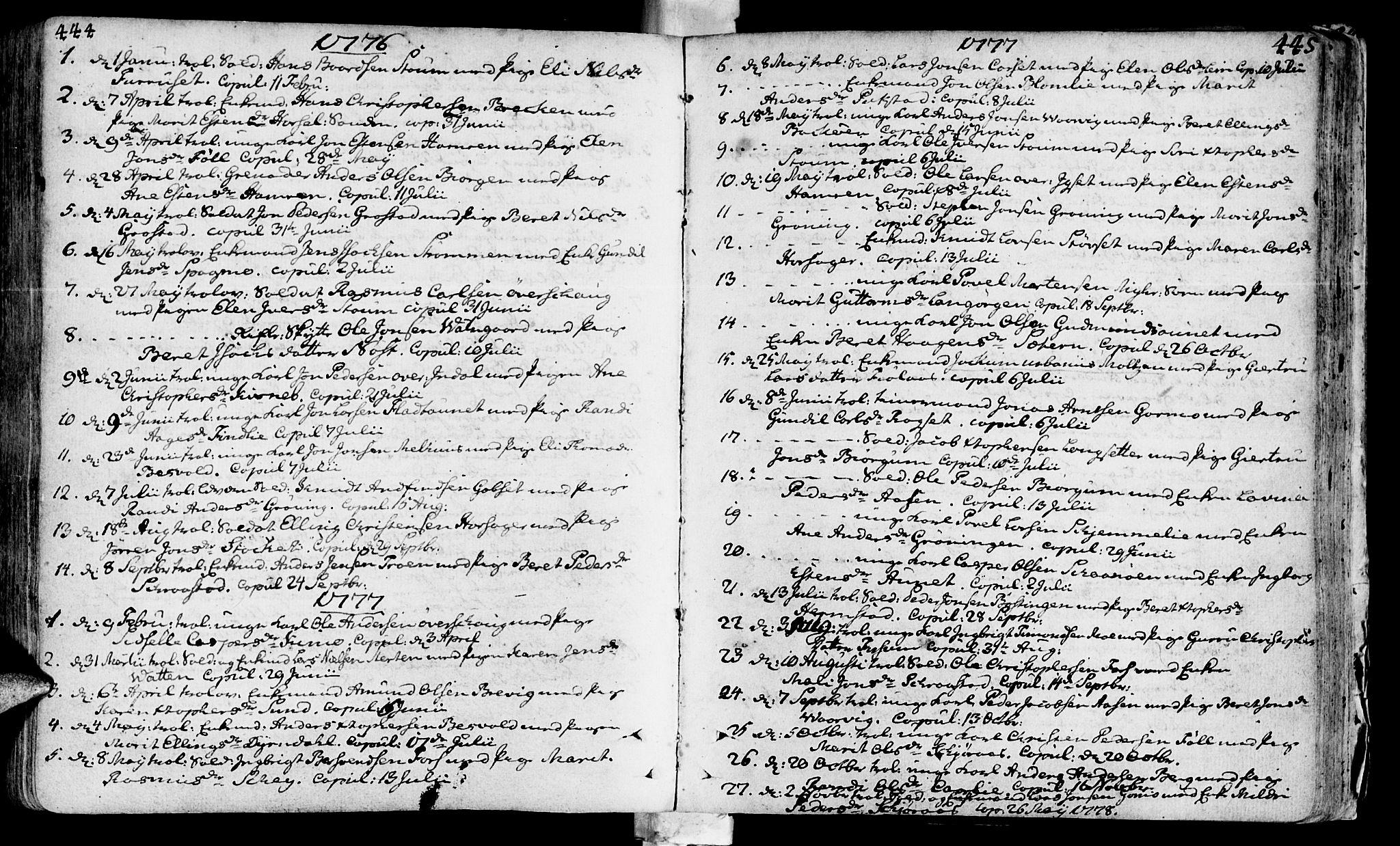 SAT, Ministerialprotokoller, klokkerbøker og fødselsregistre - Sør-Trøndelag, 646/L0605: Ministerialbok nr. 646A03, 1751-1790, s. 444-445