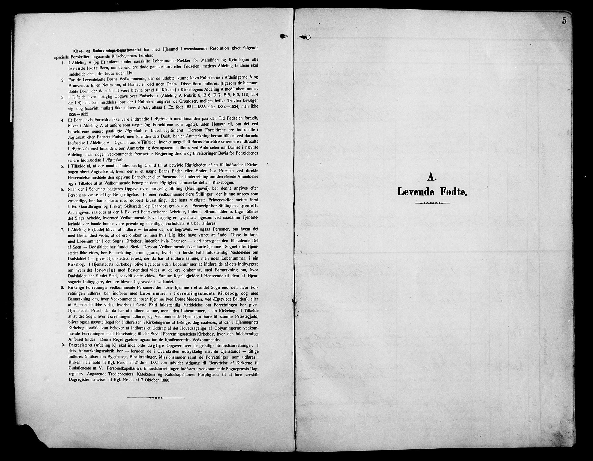 SAH, Østre Gausdal prestekontor, Klokkerbok nr. 4, 1905-1923, s. 5