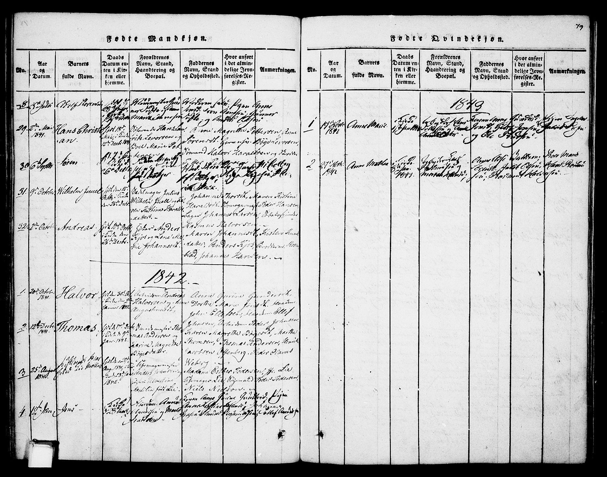SAKO, Skien kirkebøker, F/Fa/L0005: Ministerialbok nr. 5, 1814-1843, s. 79