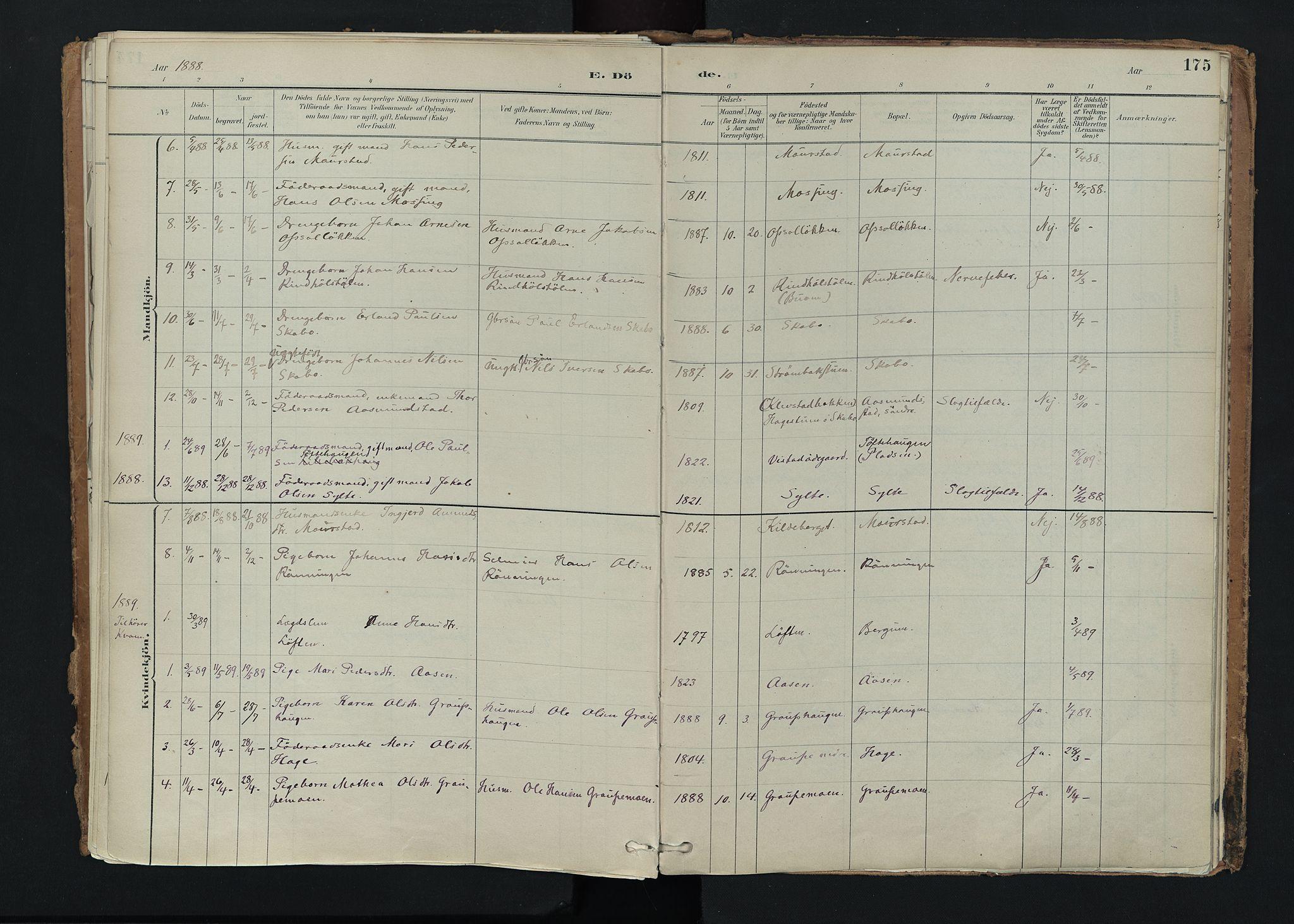 SAH, Nord-Fron prestekontor, Ministerialbok nr. 5, 1884-1914, s. 175