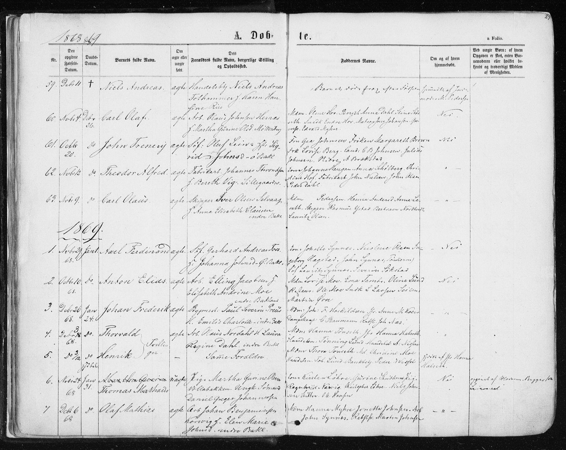 SAT, Ministerialprotokoller, klokkerbøker og fødselsregistre - Sør-Trøndelag, 604/L0186: Ministerialbok nr. 604A07, 1866-1877, s. 27