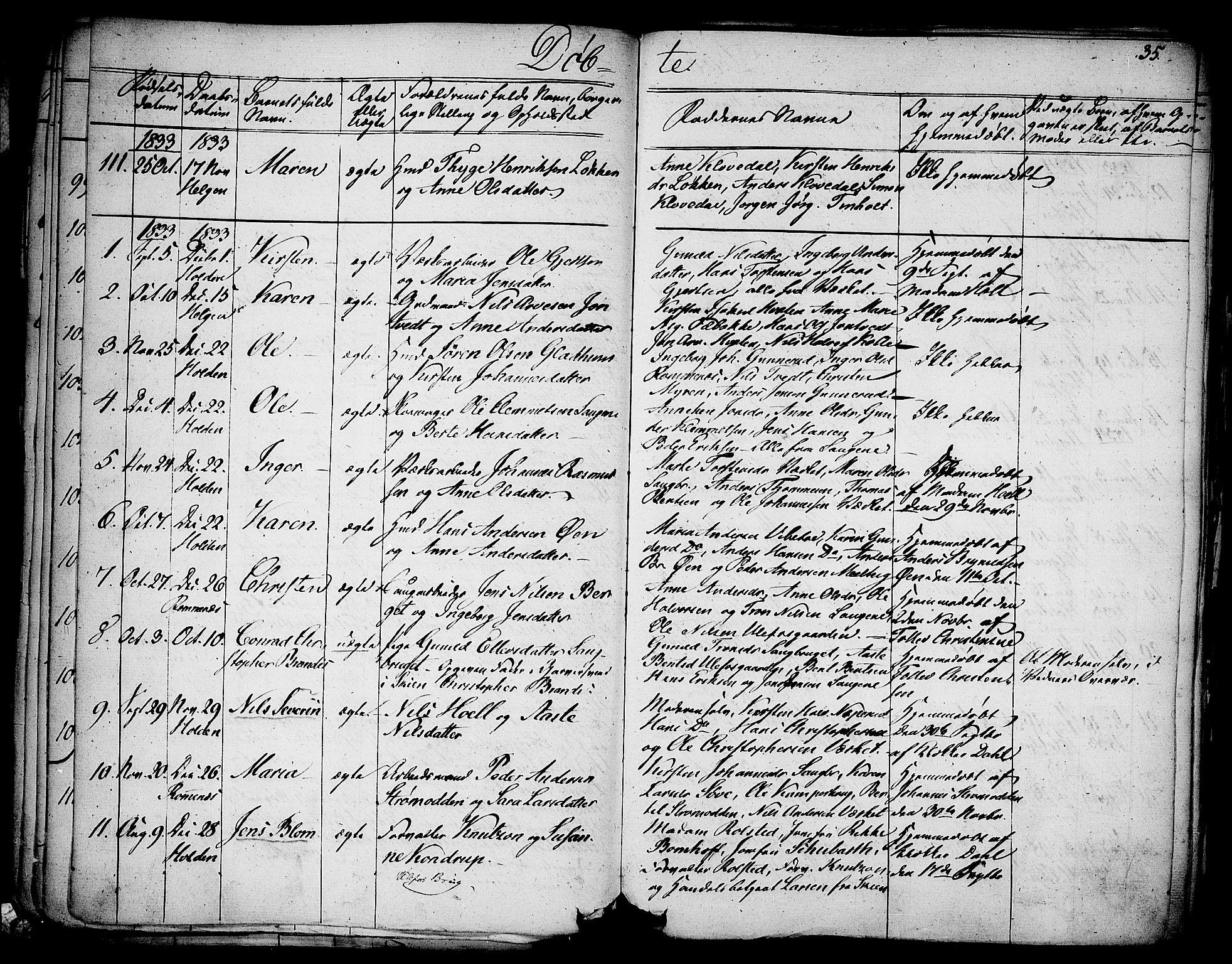 SAKO, Holla kirkebøker, F/Fa/L0004: Ministerialbok nr. 4, 1830-1848, s. 35