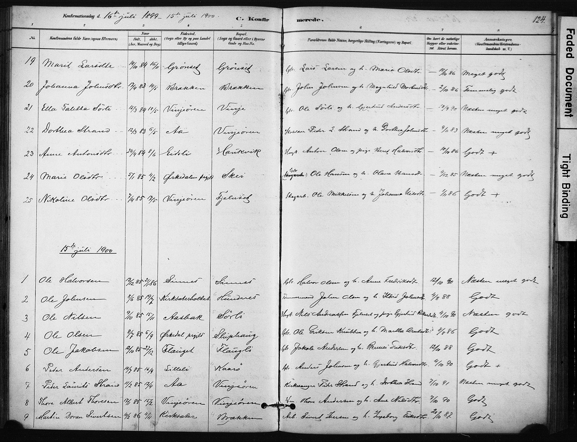 SAT, Ministerialprotokoller, klokkerbøker og fødselsregistre - Sør-Trøndelag, 631/L0512: Ministerialbok nr. 631A01, 1879-1912, s. 124