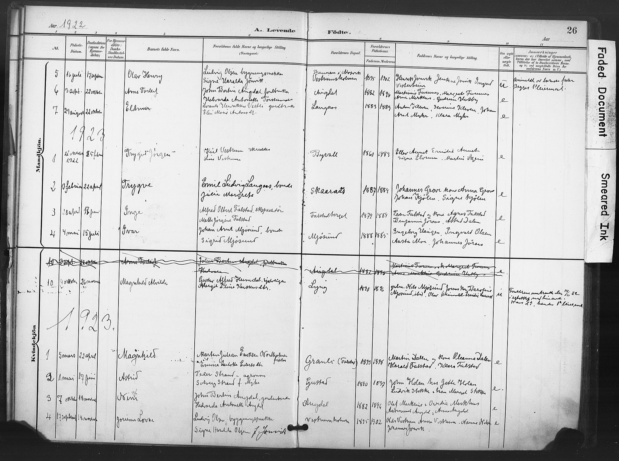 SAT, Ministerialprotokoller, klokkerbøker og fødselsregistre - Nord-Trøndelag, 719/L0179: Ministerialbok nr. 719A02, 1901-1923, s. 26