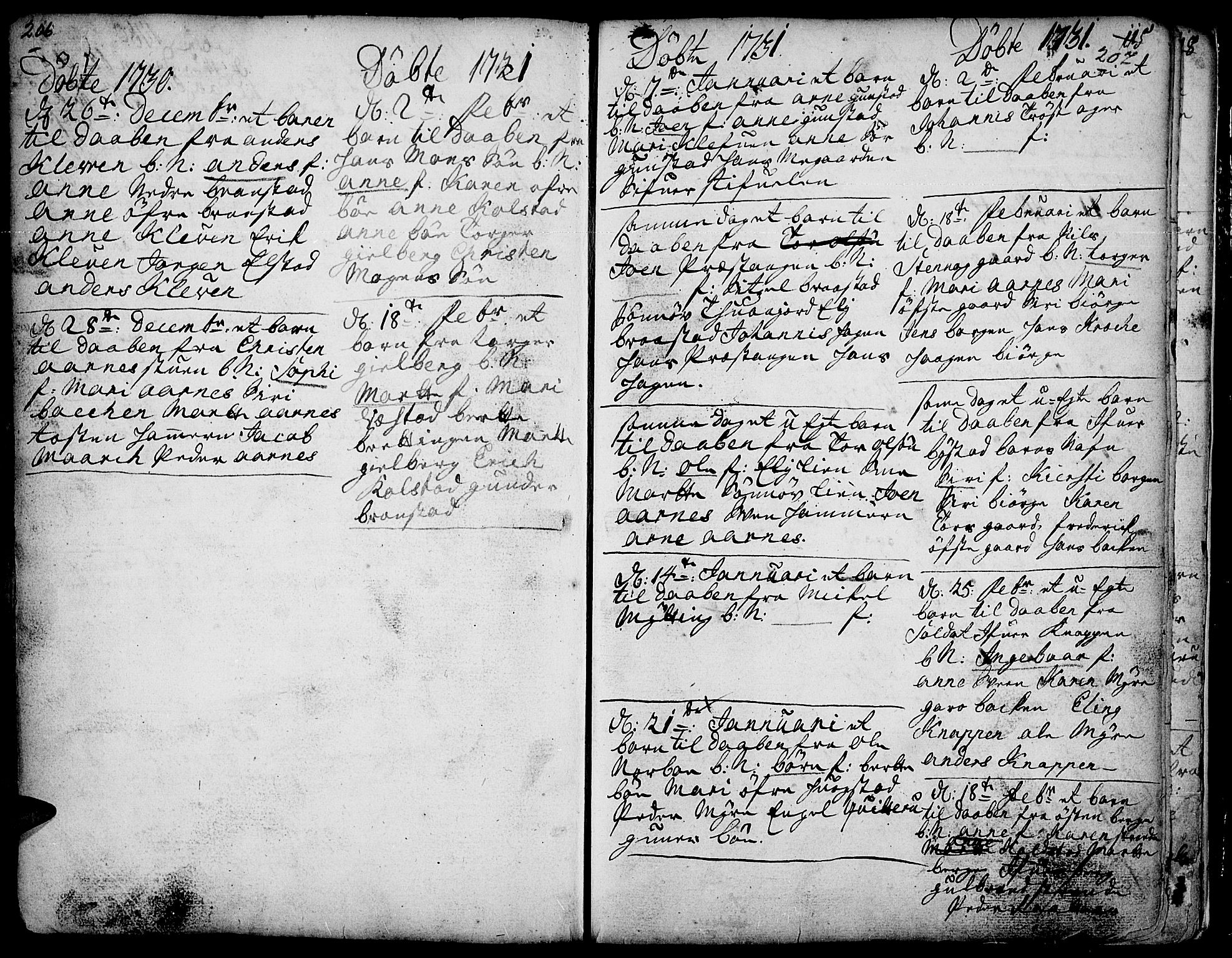 SAH, Ringebu prestekontor, Ministerialbok nr. 1, 1696-1733, s. 206-207
