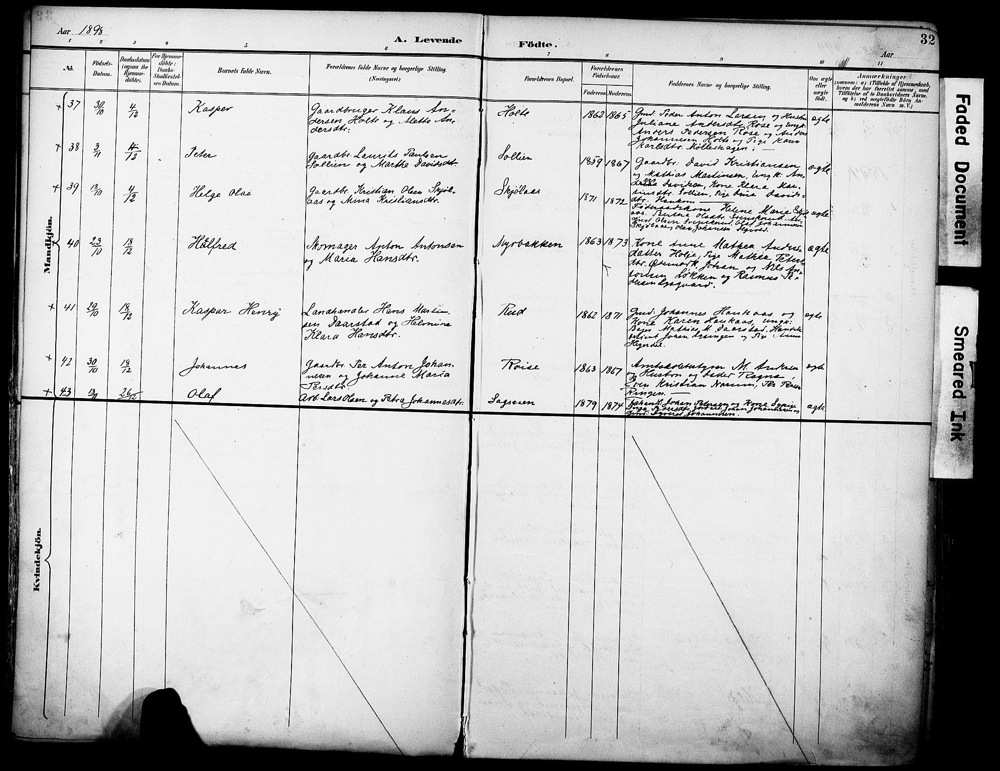 SAH, Vestre Toten prestekontor, H/Ha/Haa/L0013: Ministerialbok nr. 13, 1895-1911, s. 32