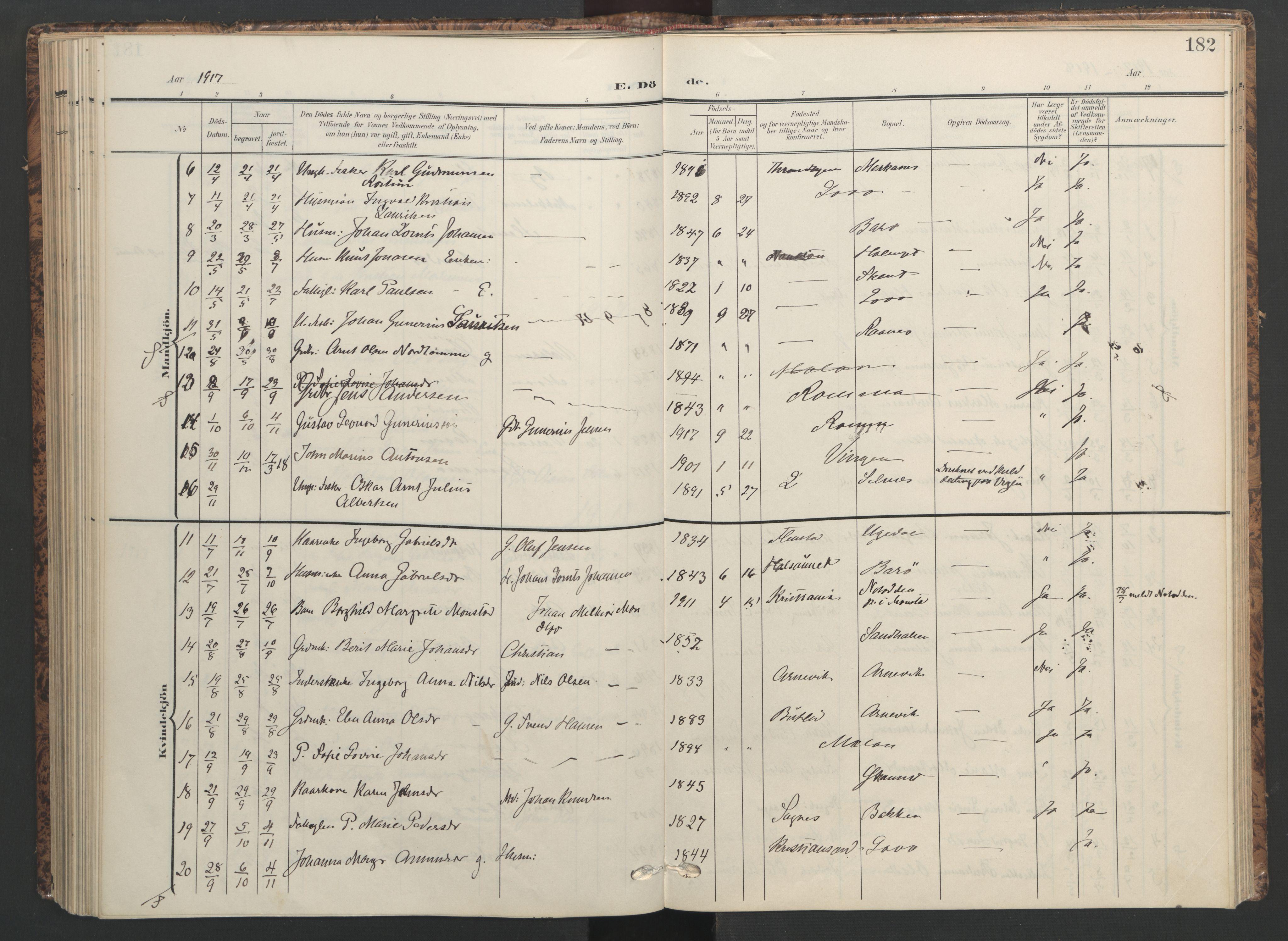 SAT, Ministerialprotokoller, klokkerbøker og fødselsregistre - Sør-Trøndelag, 655/L0682: Ministerialbok nr. 655A11, 1908-1922, s. 182