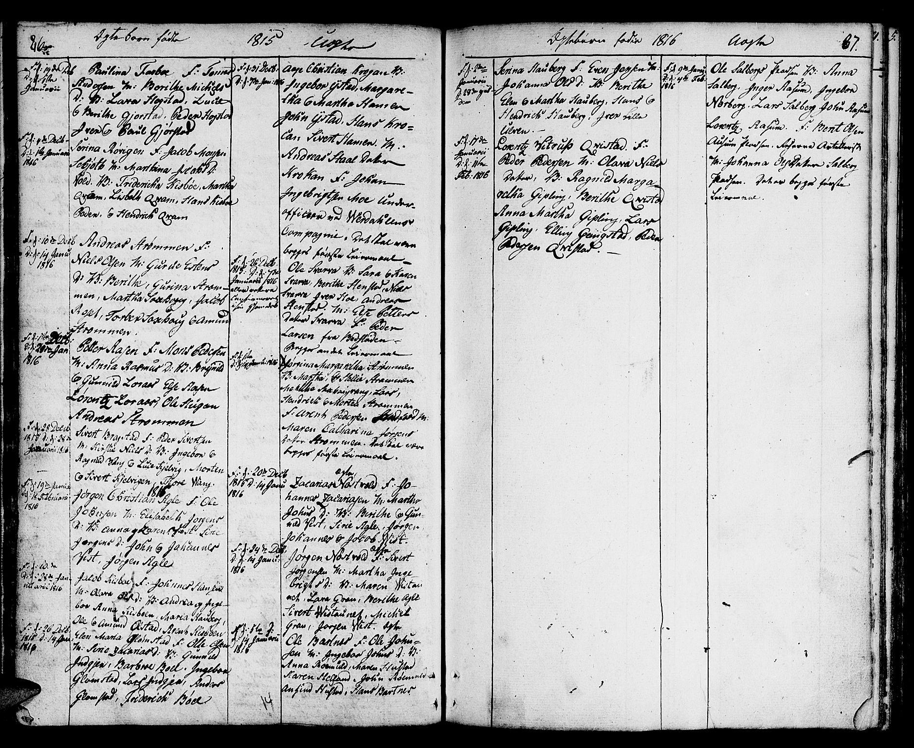 SAT, Ministerialprotokoller, klokkerbøker og fødselsregistre - Nord-Trøndelag, 730/L0274: Ministerialbok nr. 730A03, 1802-1816, s. 86-87
